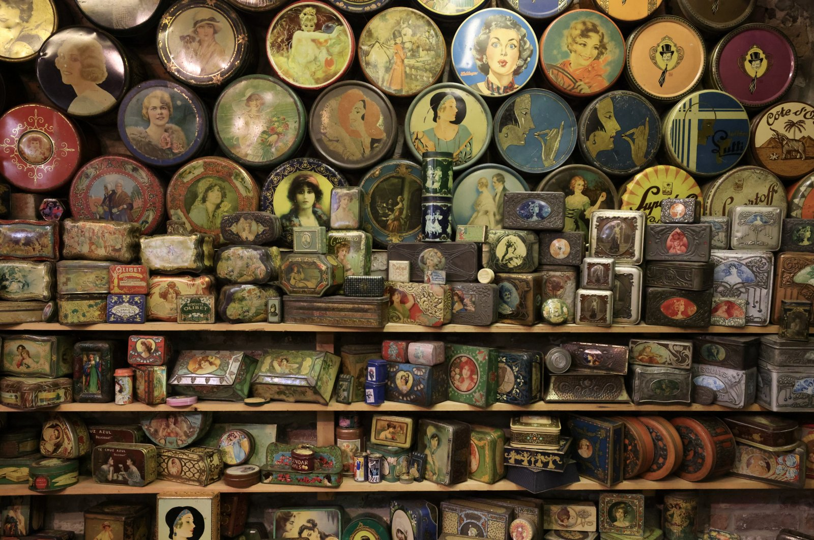Vintage lithographed tin boxes, part of a huge collection of almost 60,000 pieces started 30 years ago by Yvette Dardenne, are seen at her house in Grand-Hallet, Belgium, Aug. 5, 2021. (Reuters Photo)