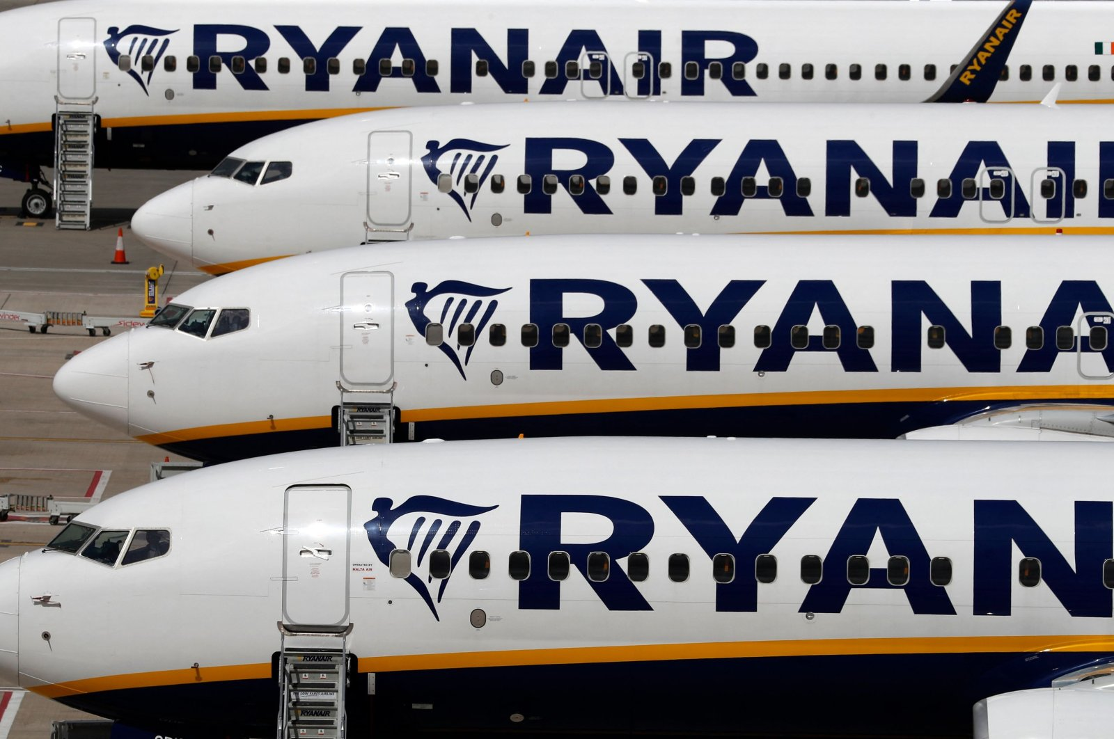 Ryanair aircraft are pictured at Stansted airport, northeast of London, U.K., Aug. 20, 2020. (AFP Photo)