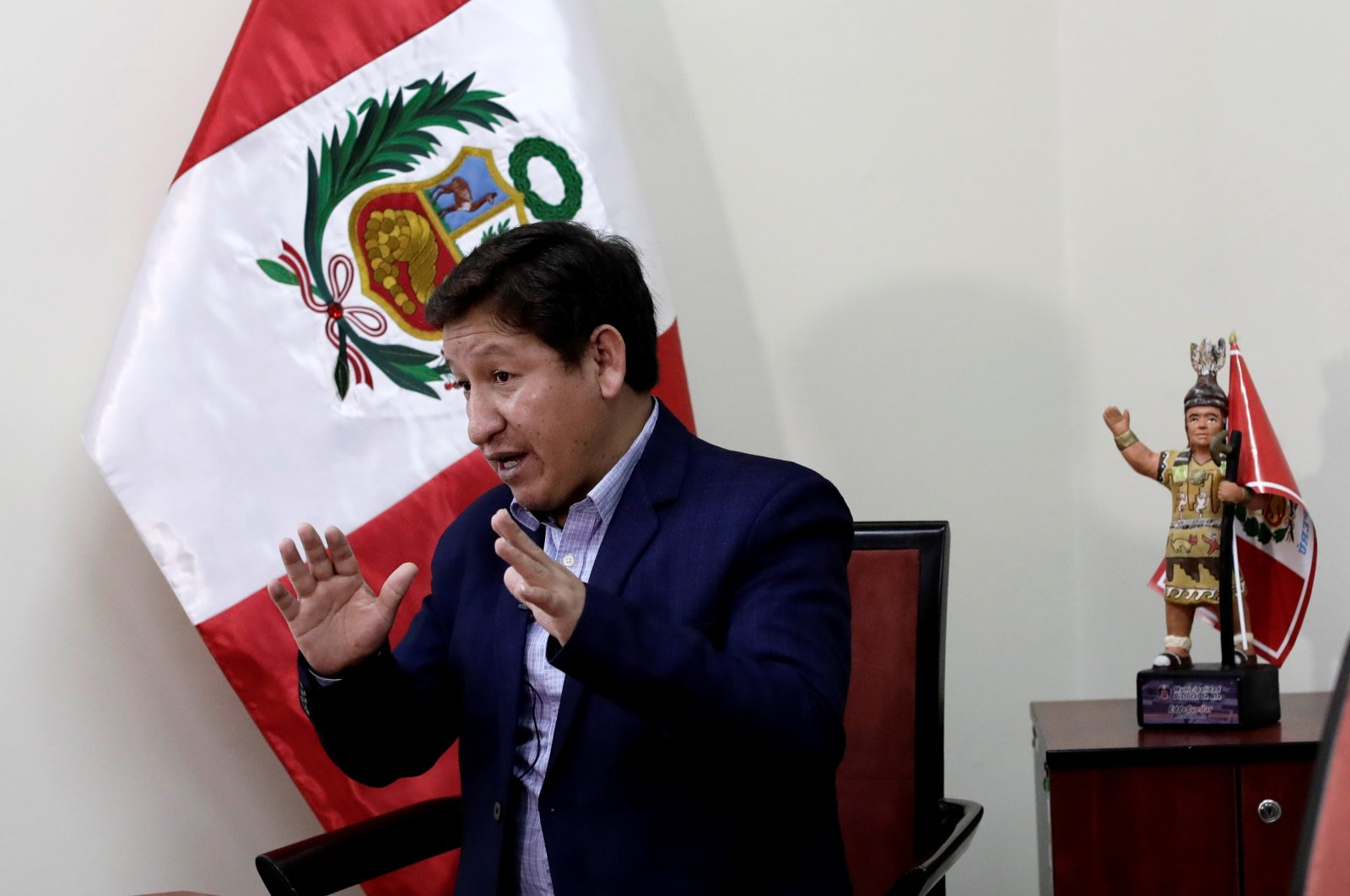 Peru's Prime Minister Guido Bellido speaks during an interview with Reuters in Lima, Peru, Aug. 7, 2021. (Reuters Photo)