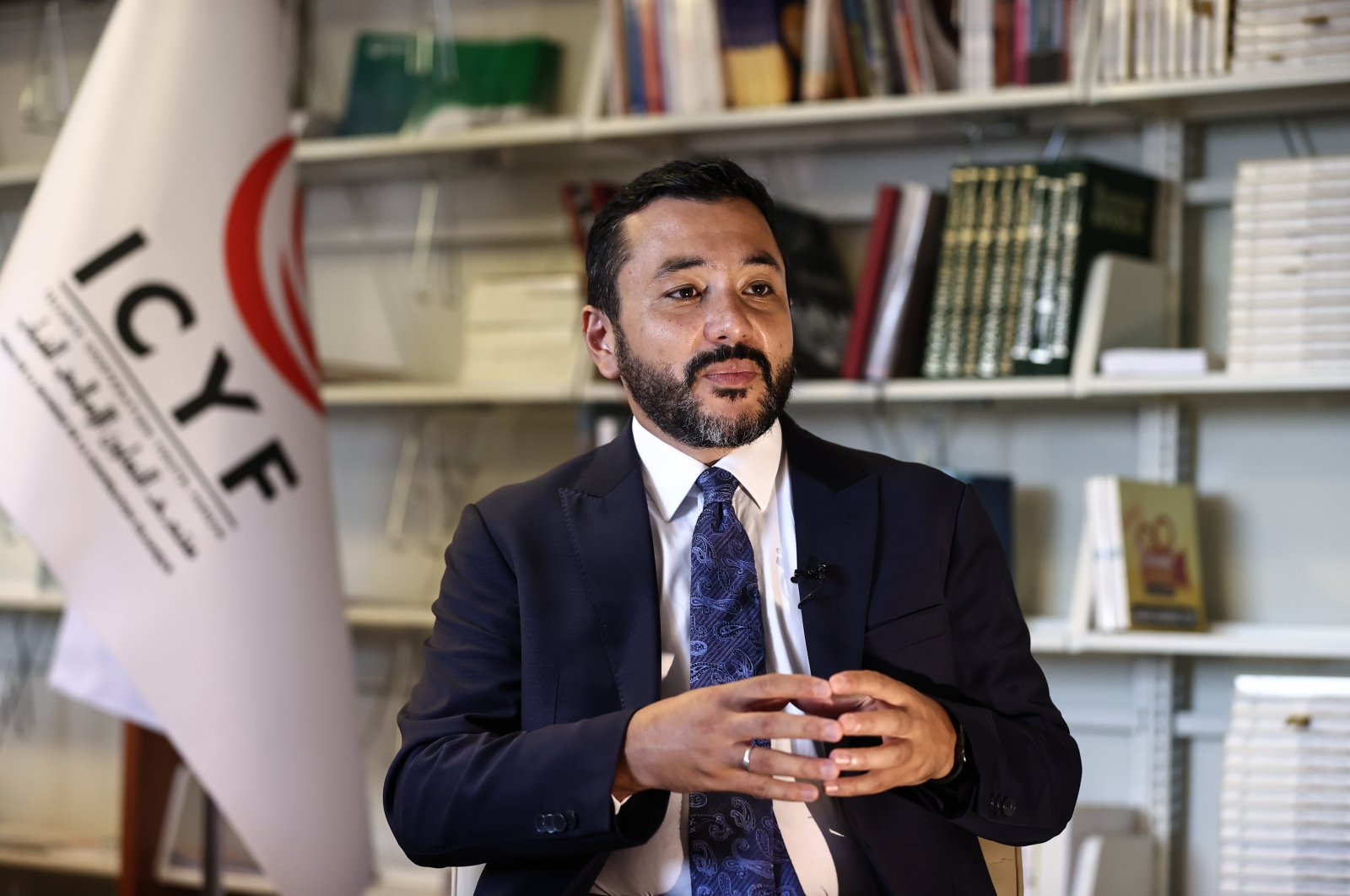 Islamic Cooperation Youth Forum's (ICYF) President Taha Ayhan speaks in an interview, Aug. 7, 2021. (AA Photo)
