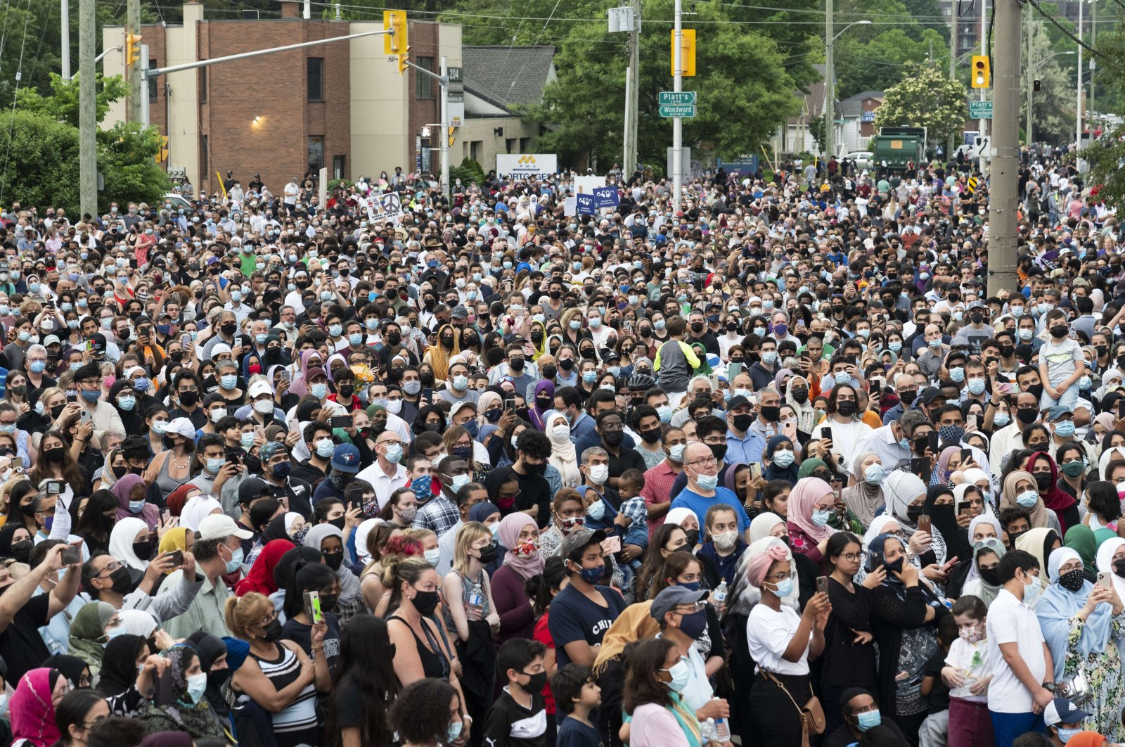 Members of the Muslim community and supporters gather for a vigil at the London Muslim Mosque in London, Canada, June 8, 2021. (AFP File Photo)