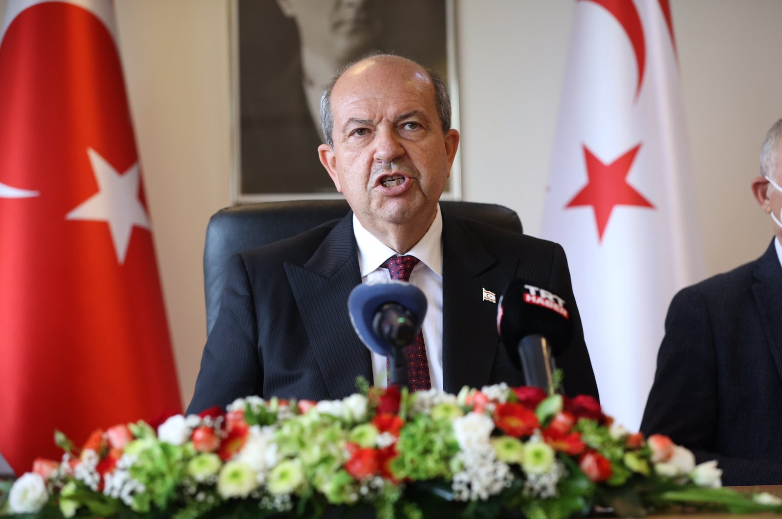 TRNC President Ersin Tatar speaks to reporters in a news conference following a meeting with U.N. Secretary-General Antonio Guterres, June 26, 2021. (AA File Photo)