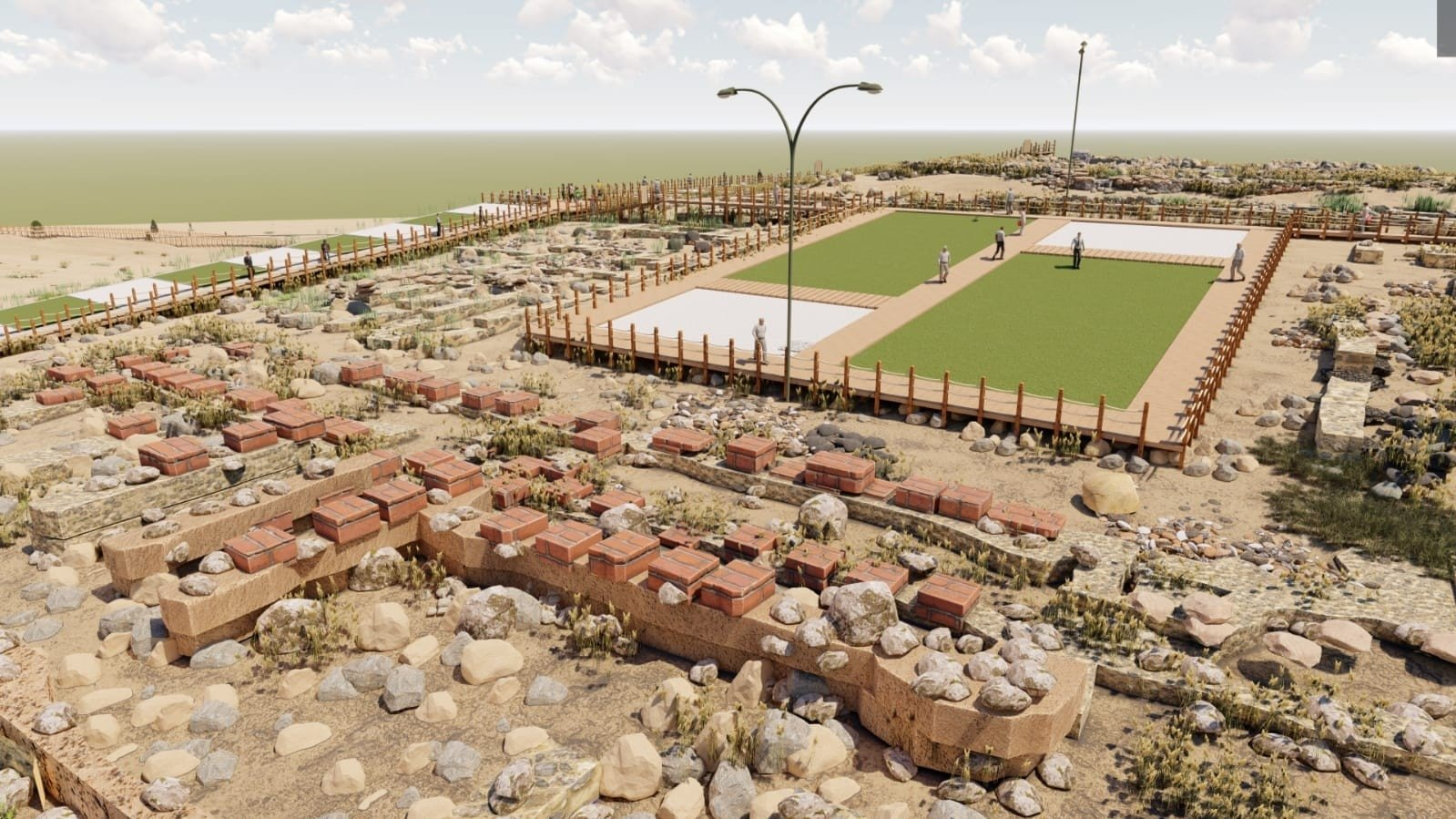 An illustration shows the archaeological site of Kuşaklı after the works are completed. (IHA Photo)