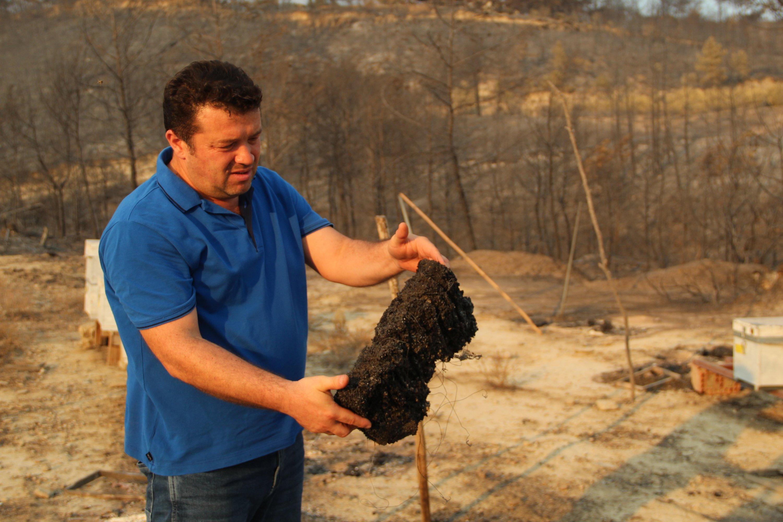 Beekeeper Güven Karagöl shows his burnt beehives in Kalemler village of Manavgat, Antalya, southern Turkey, Aug. 7, 2021. (IHA Photo)