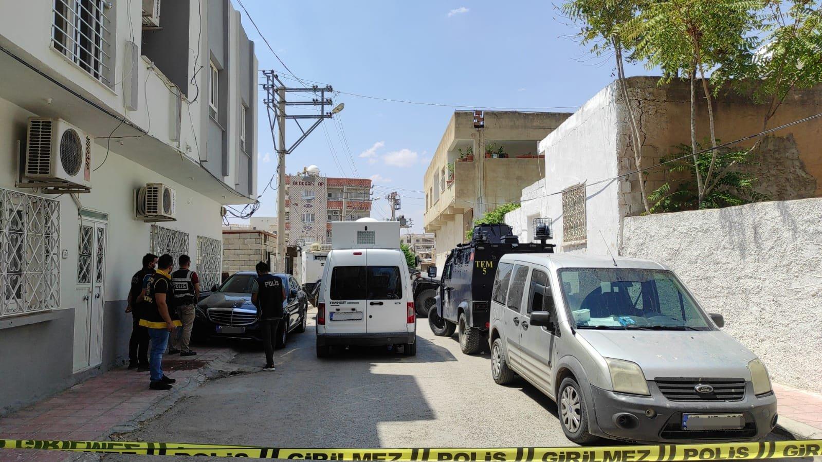 Police cordon off the area where the terrorist was killed in Nusaybin district, Mardin, Turkey, Aug. 8, 2021. (AA Photo)
