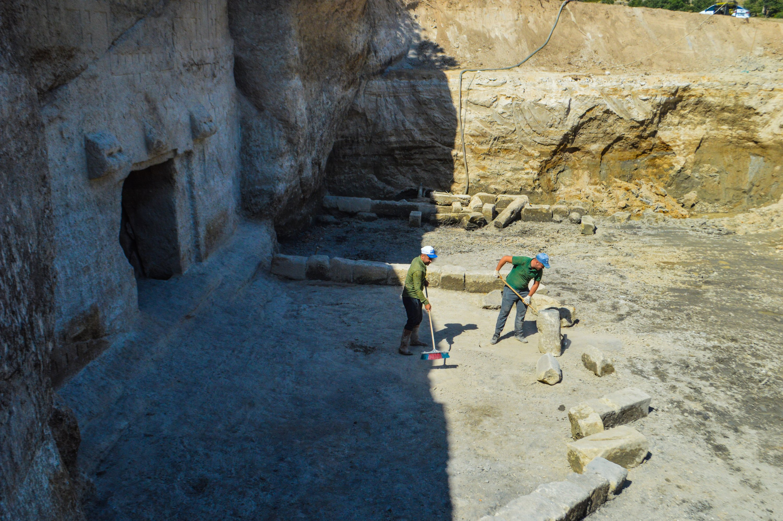 Archaeologists work in the area of the Maltaş monument, Phrygian Valley, Afyonkarahisar, western Turkey, Aug. 7, 2021. (AA Photo)