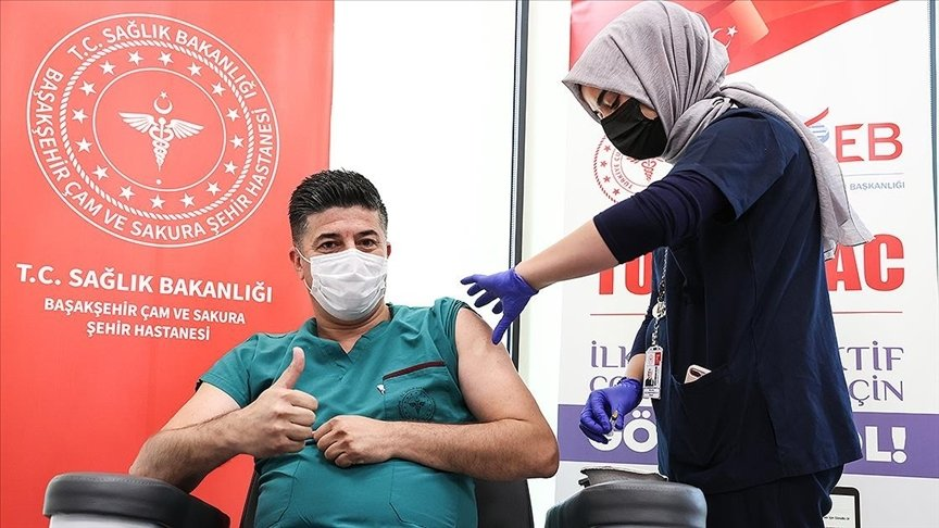 A volunteer being vaccinated with the Turkovac COVID-19 vaccine, in Istanbul, Turkey, July 8, 2021. (AA PHOTO)