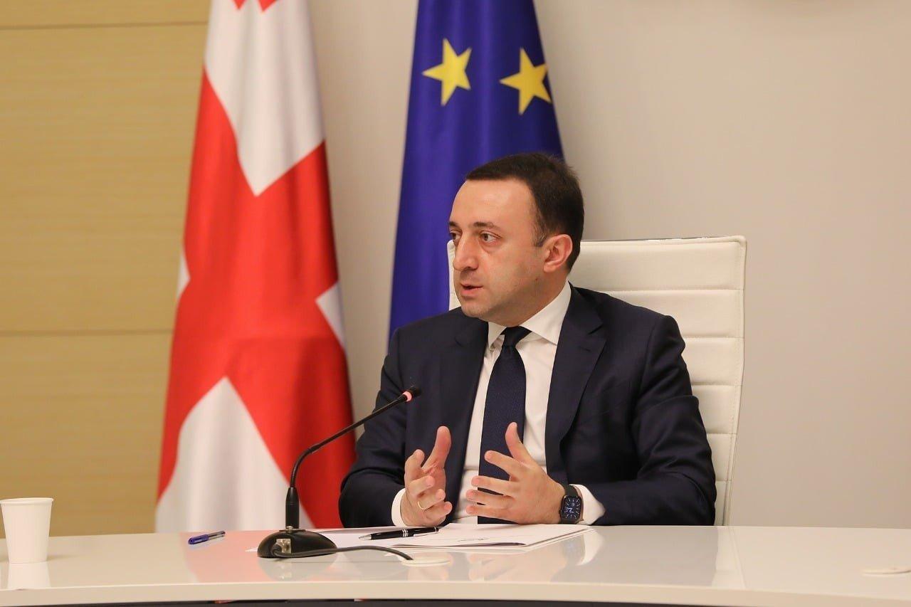 Georgia's Prime MinisterIrakli Garibashvili during a press conference in Tbilisi, Georgia, July 31, 2021. (IHA Photo)
