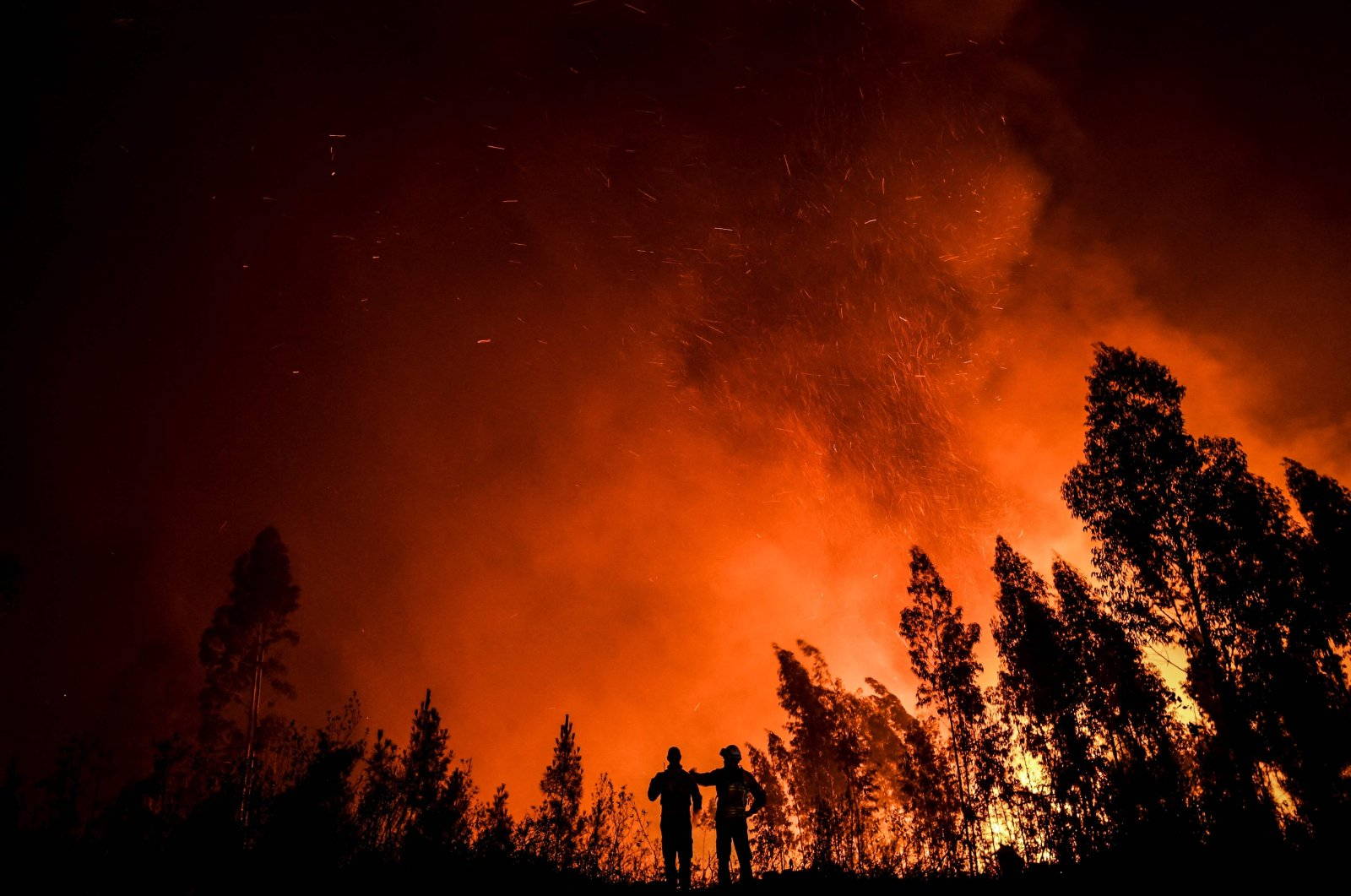 Firefighters monitor the progression of a wildfire at Amendoa in Macao, central Portugal, July 21, 2019. (AFP Photo)