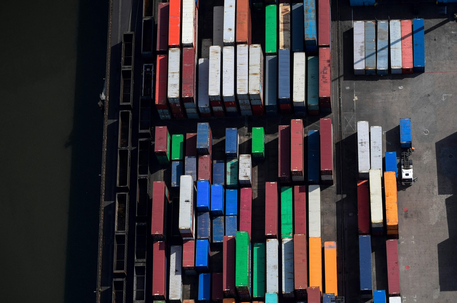 Containers are parked at the harbor of Duisburg, western Germany, May 8, 2020. (AFP Photo)