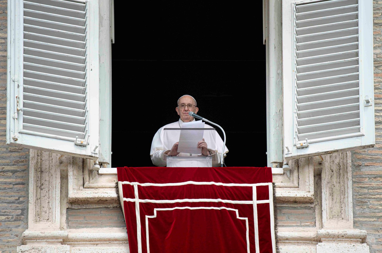 Pope Francis leads Angelus prayer from his window overlooking St.Peter's Square at the Vatican, Aug. 8, 2021. (Reuters Photo)