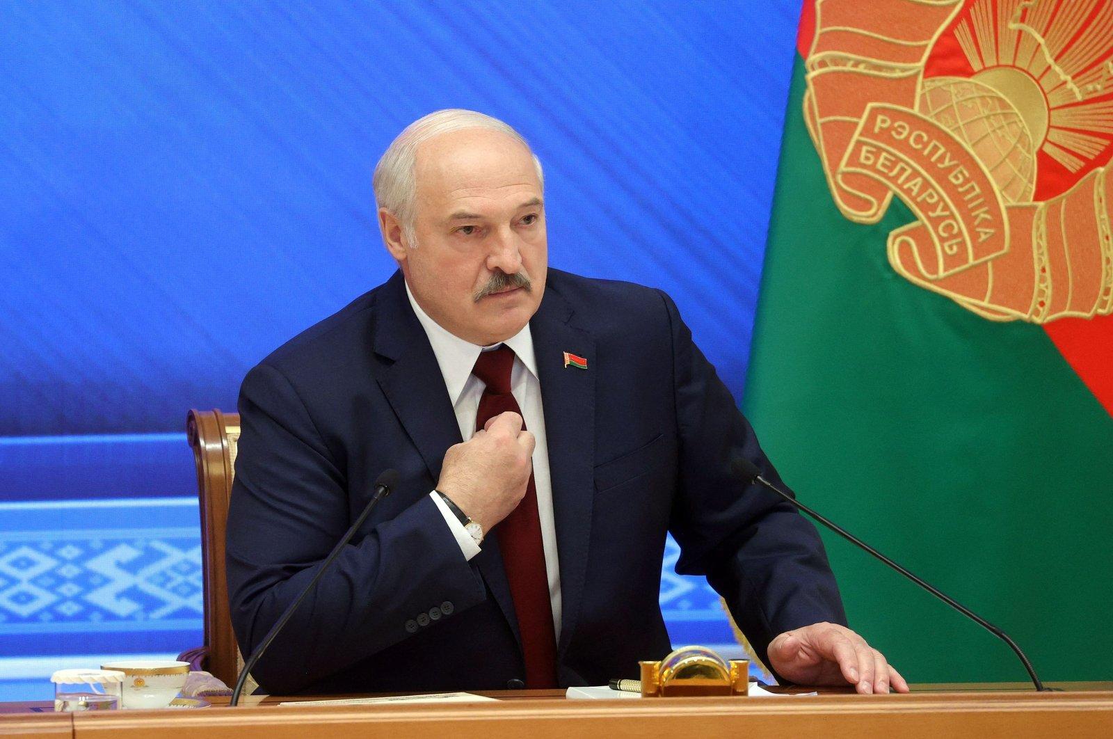 Belarus' President Alexander Lukashenko speaks during a press conference in Minsk on Aug. 9, 2021. (AFP Photo)