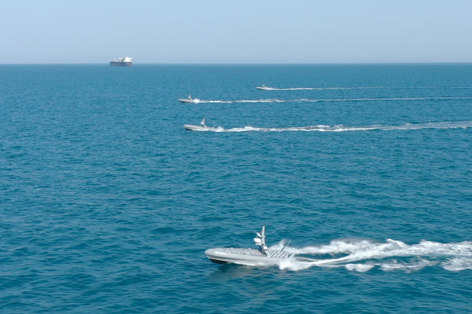 Aselsan's Albatros-S USVs are seen in the sea in this photo provided on Aug. 9, 2021. (Photo courtesy of SSB)