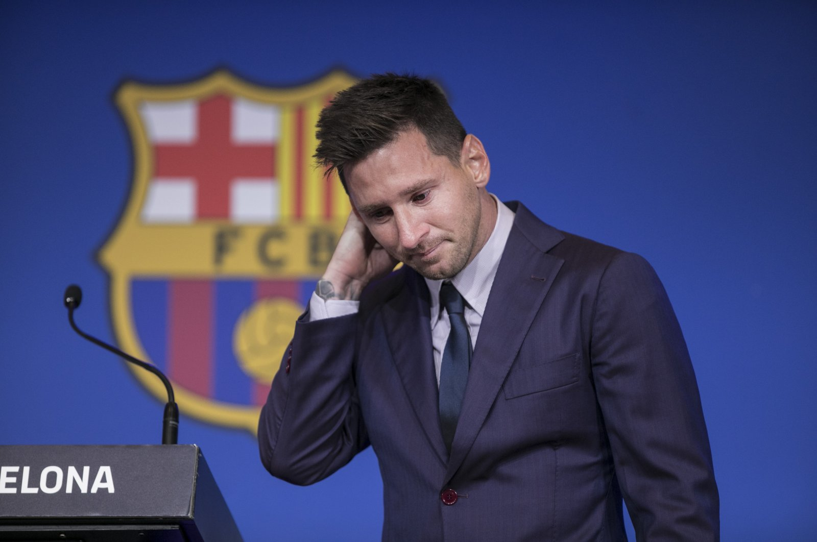Lionel Messi reacts during his final press conference for Barcelona at Camp Nou, Barcelona, Spain, Aug. 8, 2021. (AA Photo)