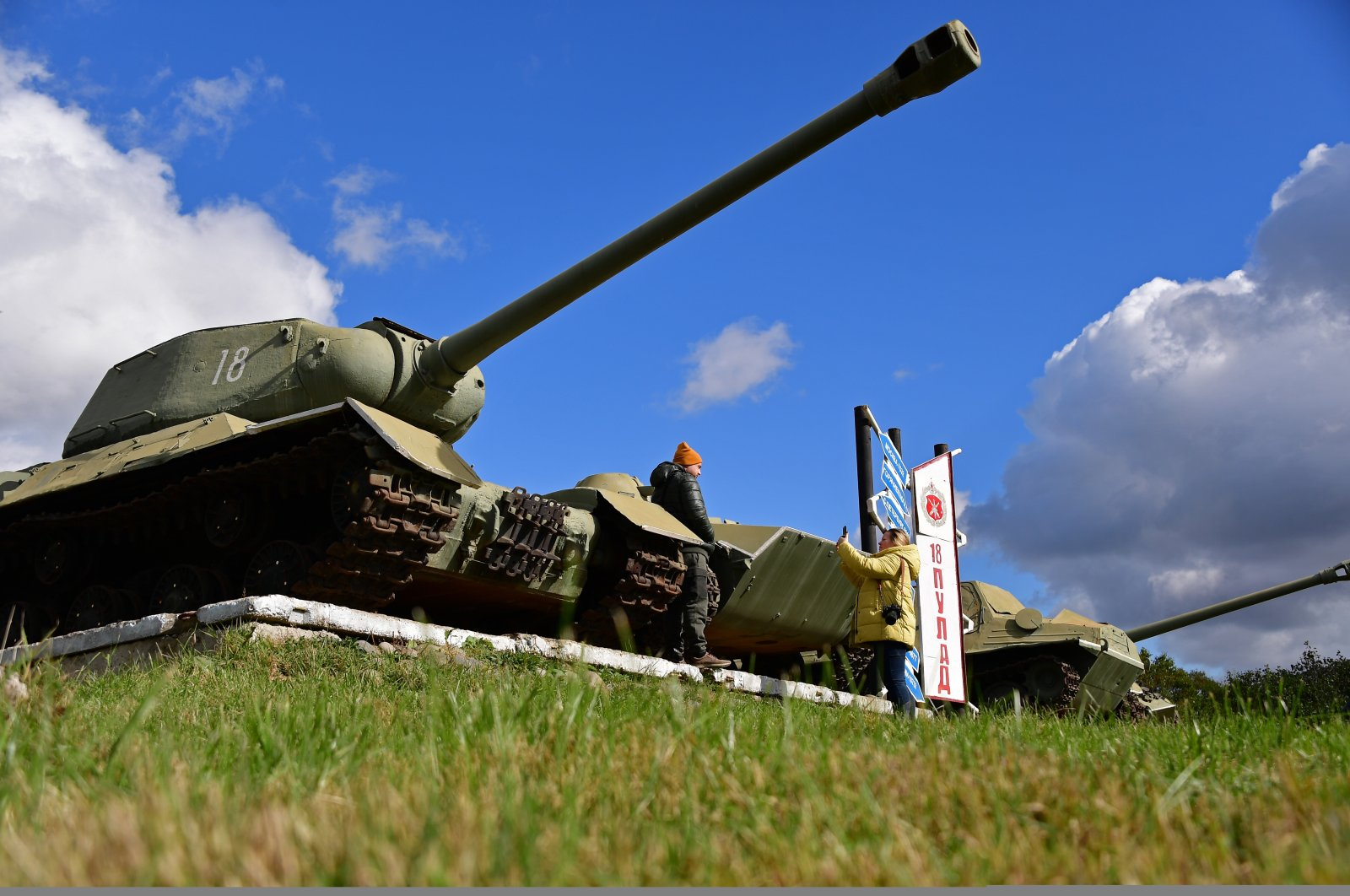 Soviet tanks-monuments of the 18th Machine Gun Artillery Division on Iturup Island, the largest one of the Kuril Islands, situated in the southern part of its Greater Kuril Chain, Sakhalin region, Russia, Oct. 16, 2020. (Photo by TASS via Reuters )