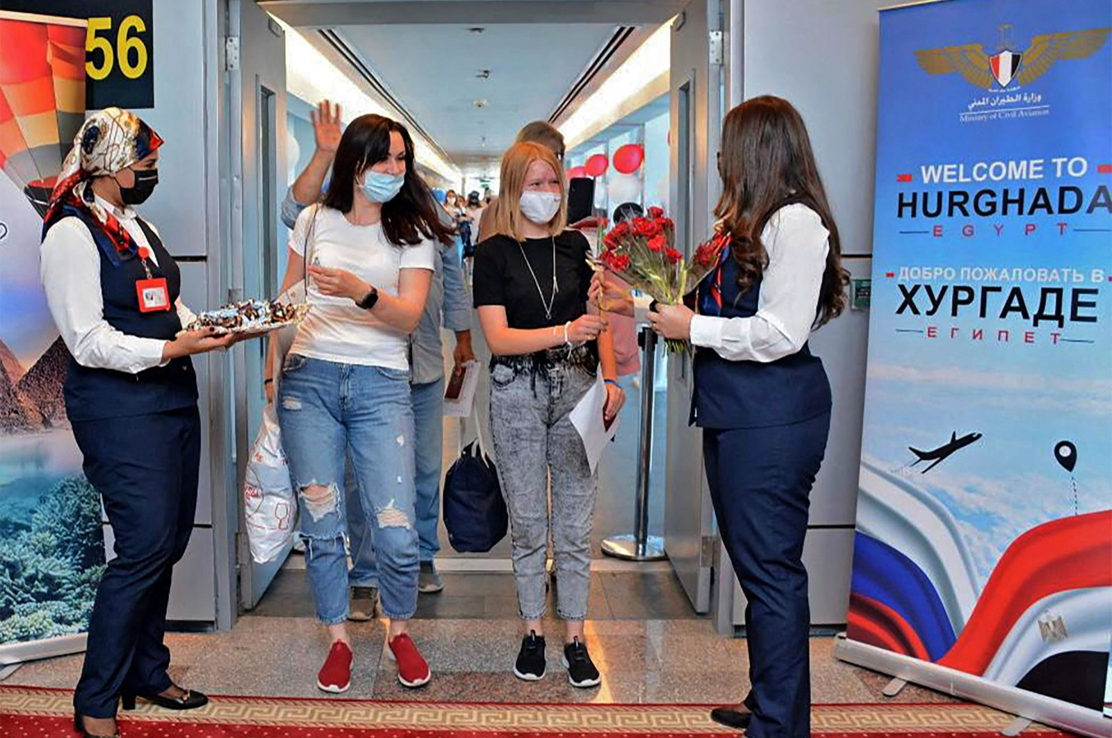 Visitors from Russia arrive in the Red Sea resort of Hurghada, Egypt, Aug. 9, 2021. (AFP Photo/Egyptian Ministry of Tourism)