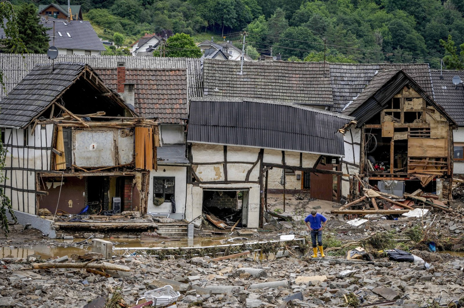 Houses destroyed by flooding seen in Schuld, Germany, July 15, 2021. (AP Photo)