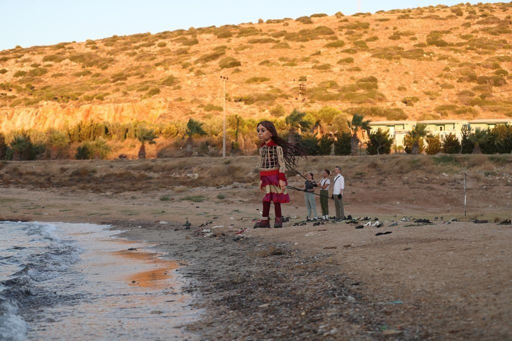 Little Amal in the Çeşme district of western Izmir province in Turkey.