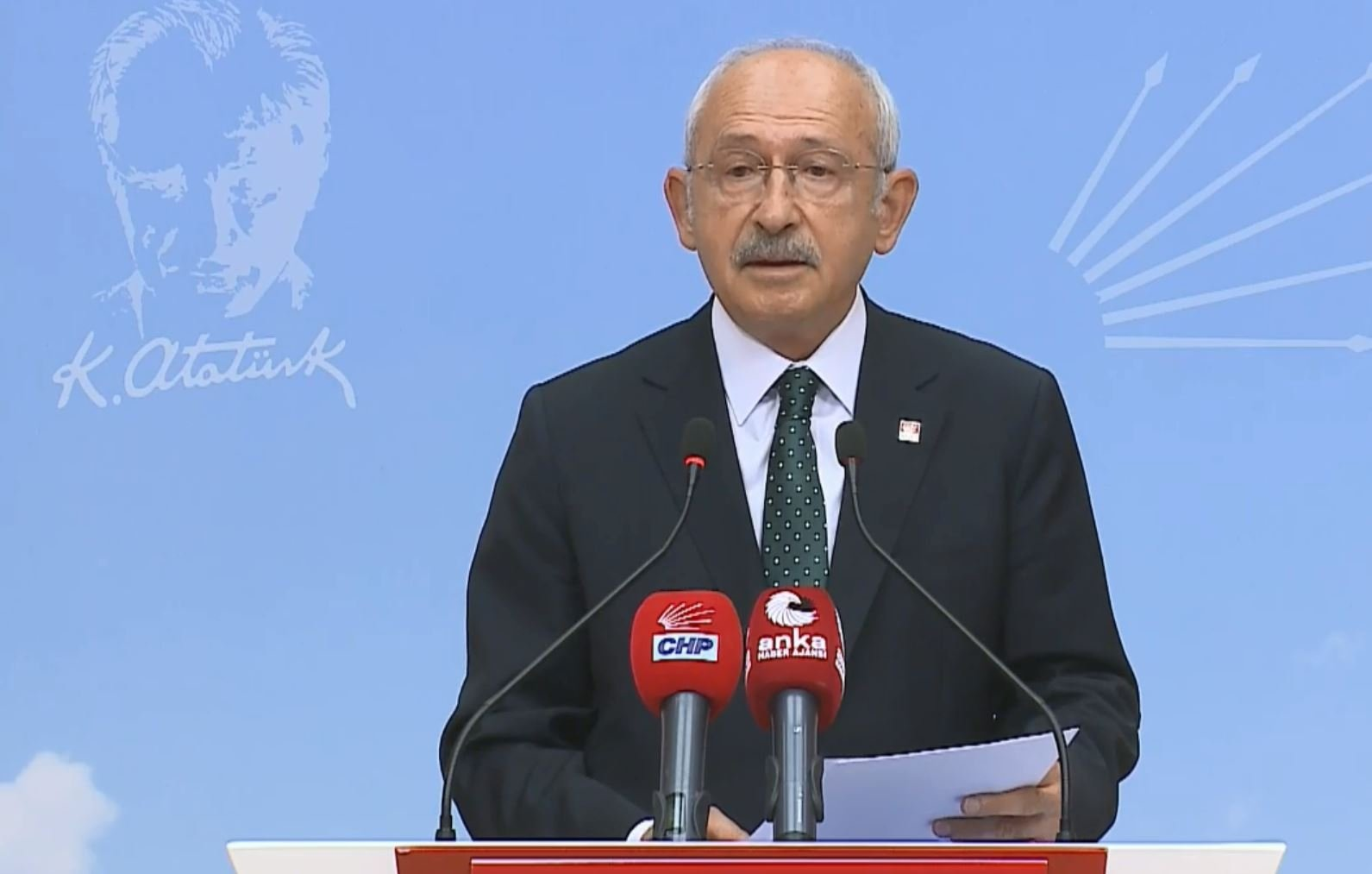 Main opposition Republican People's Party(CHP)'s chairperson Kemal Kılıçdaroğlu gives a speech at the party headquarters, in Ankara, Turkey, Aug. 3, 2021. (DHA Photo)