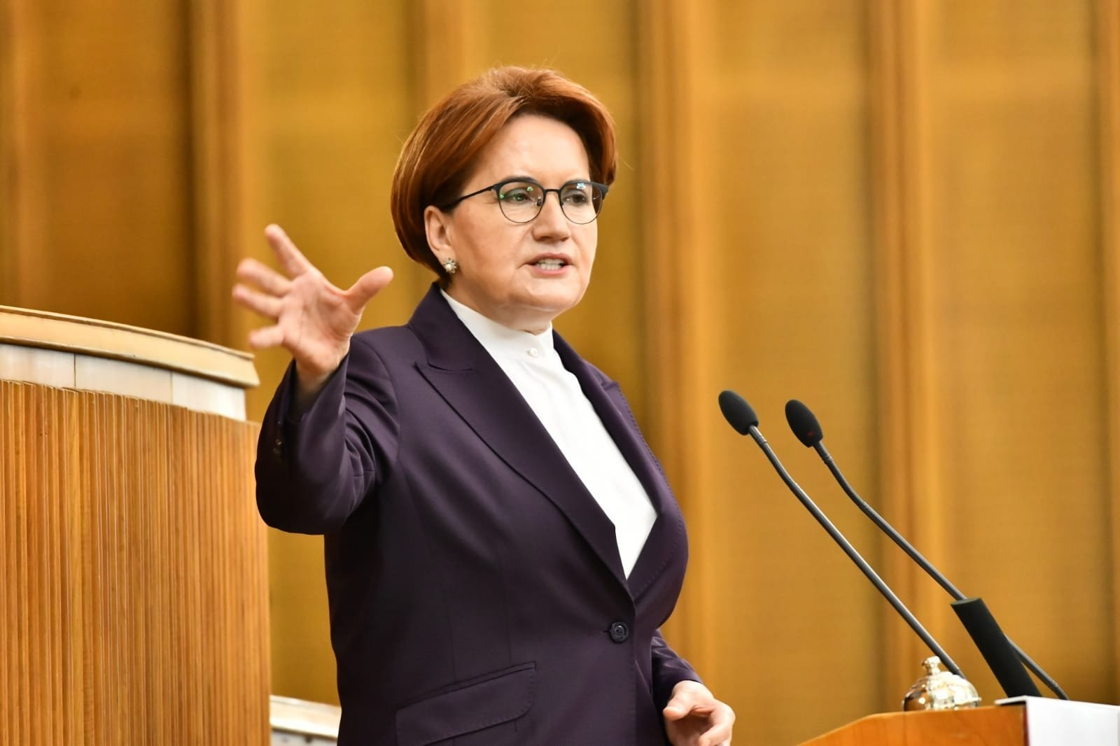 Good Party (IP) chairperson Meral Akşener speaks at the party group meeting in the Turkish Parliament, Ankara, Turkey, July 14, 2021. (DHA Photo)