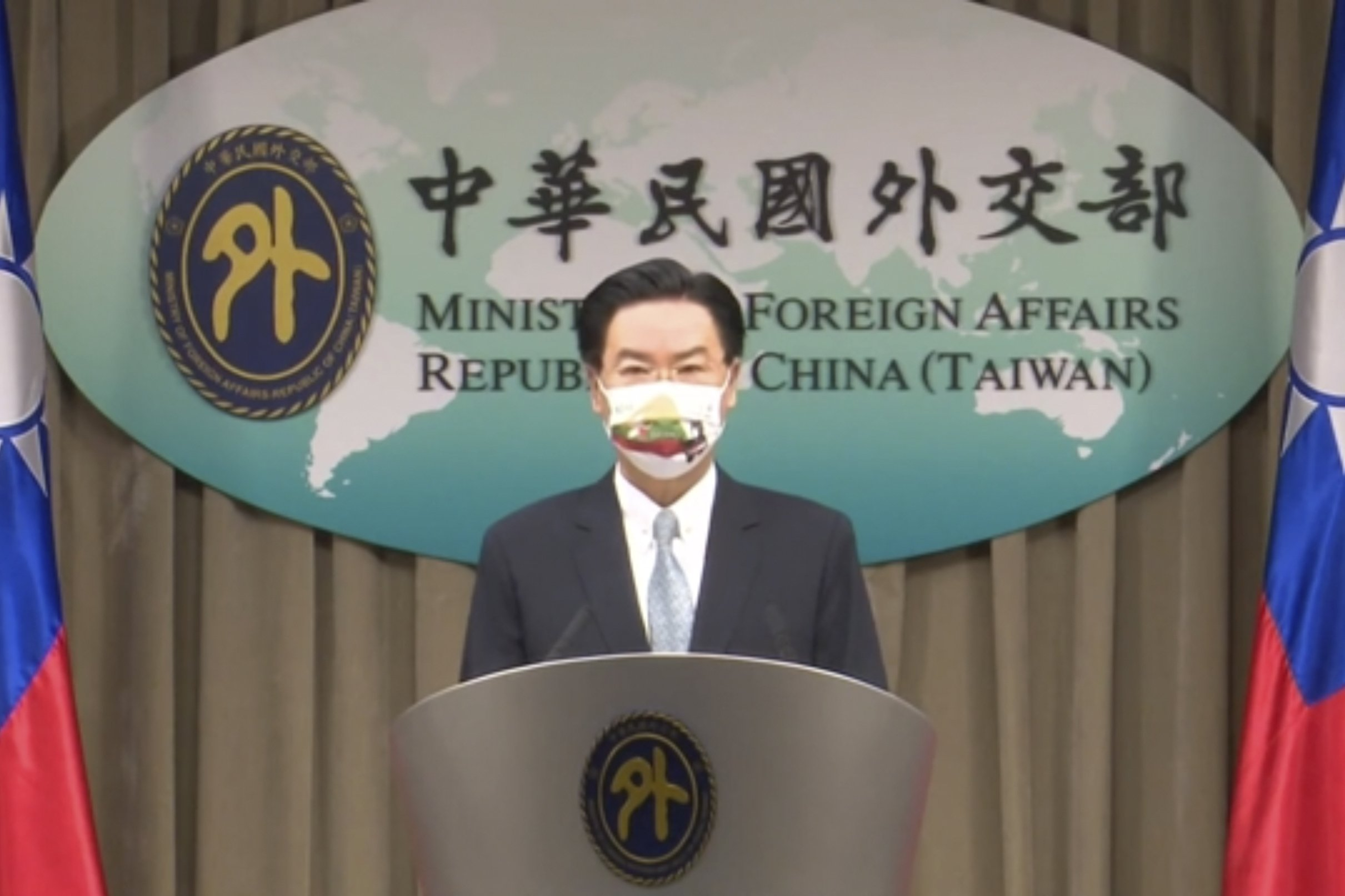 In this grab from video footage run by Taiwan's Ministry of Foreign Affairs via AP Video, Taiwan Foreign Minister Joseph Wu, speaks about exchanging representative offices with Lithuania during a press briefing in Taipei, Taiwan, July 20, 2021. (AP Photo)
