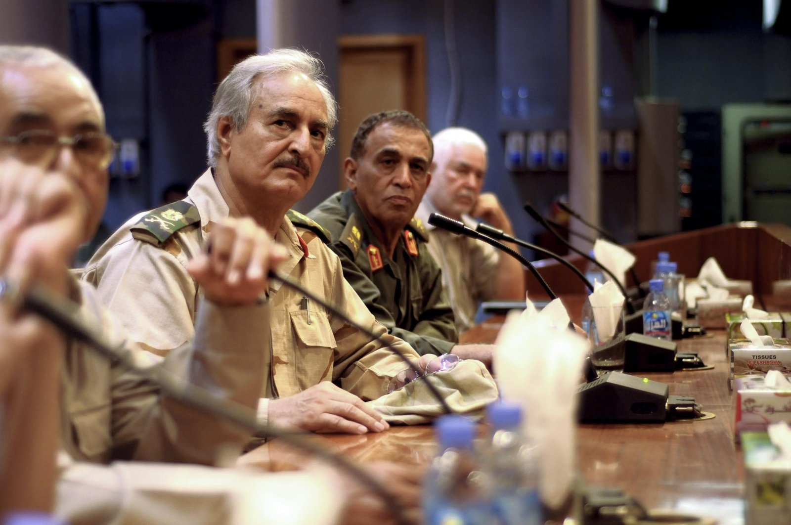 Putschist Gen. Khalifa Haftar meets with former army officers in Zawiyah, east of Tripoli, Libya, Sept. 14, 2011. (Getty Images)