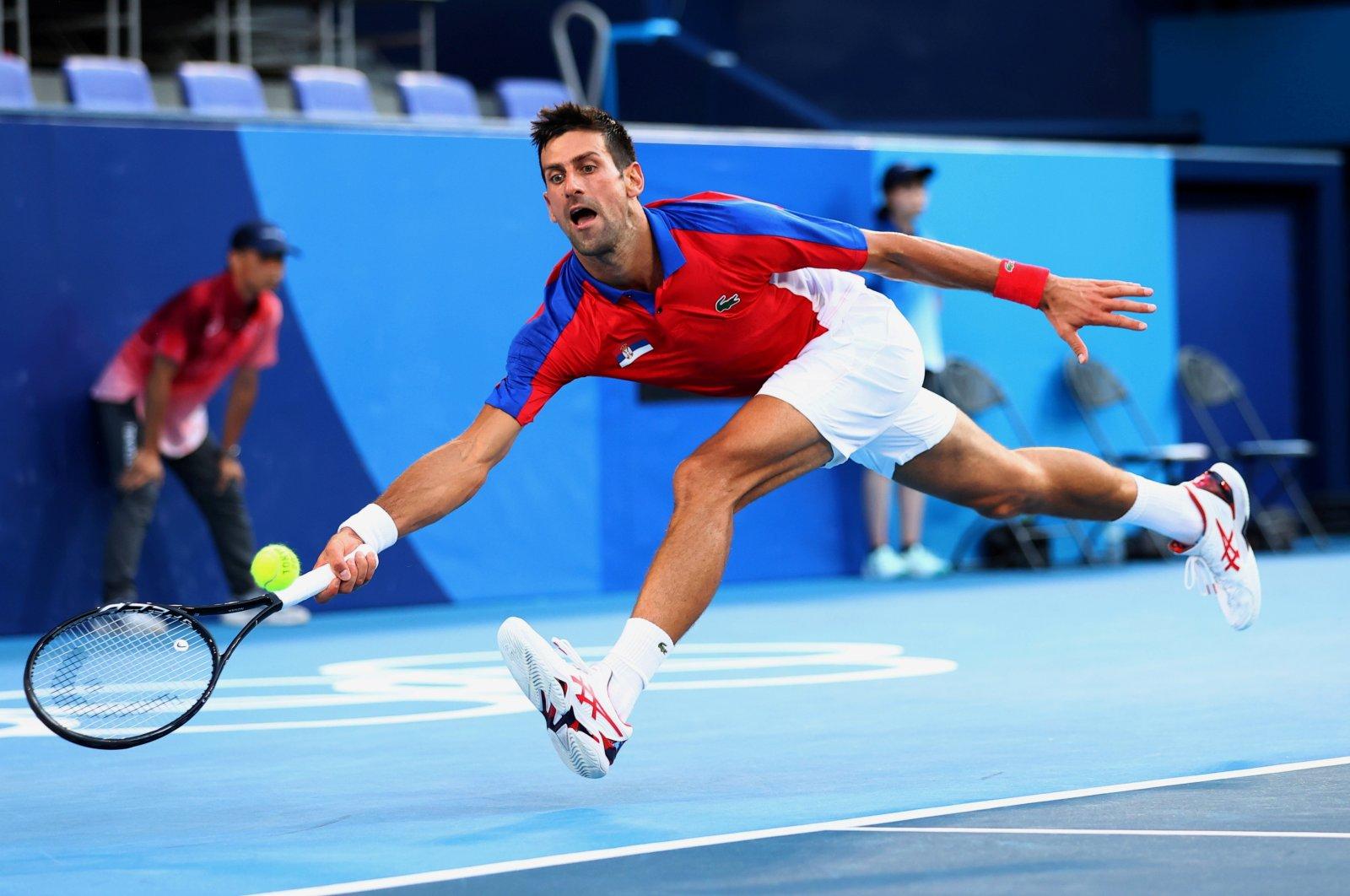 Serbia's Novak Djokovic in action during his Tokyo 2020 bronze medal match against Spain's Pablo Carreno, Tokyo, Japan, July 31, 2021.