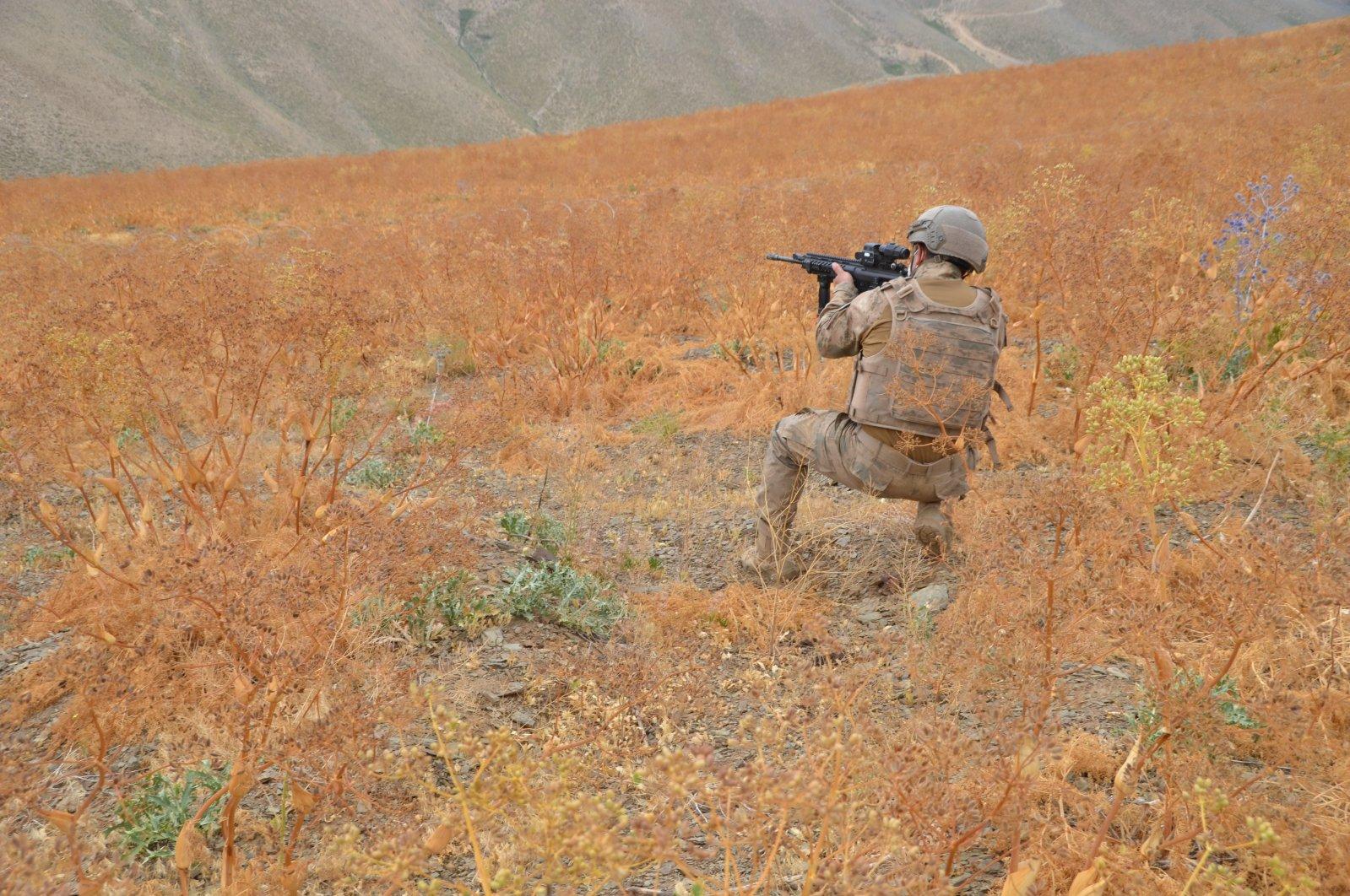 Security forces are seen on duty in Hakkari province's Yüksekova district, Turkey, July 30, 2021. (AA Photo)