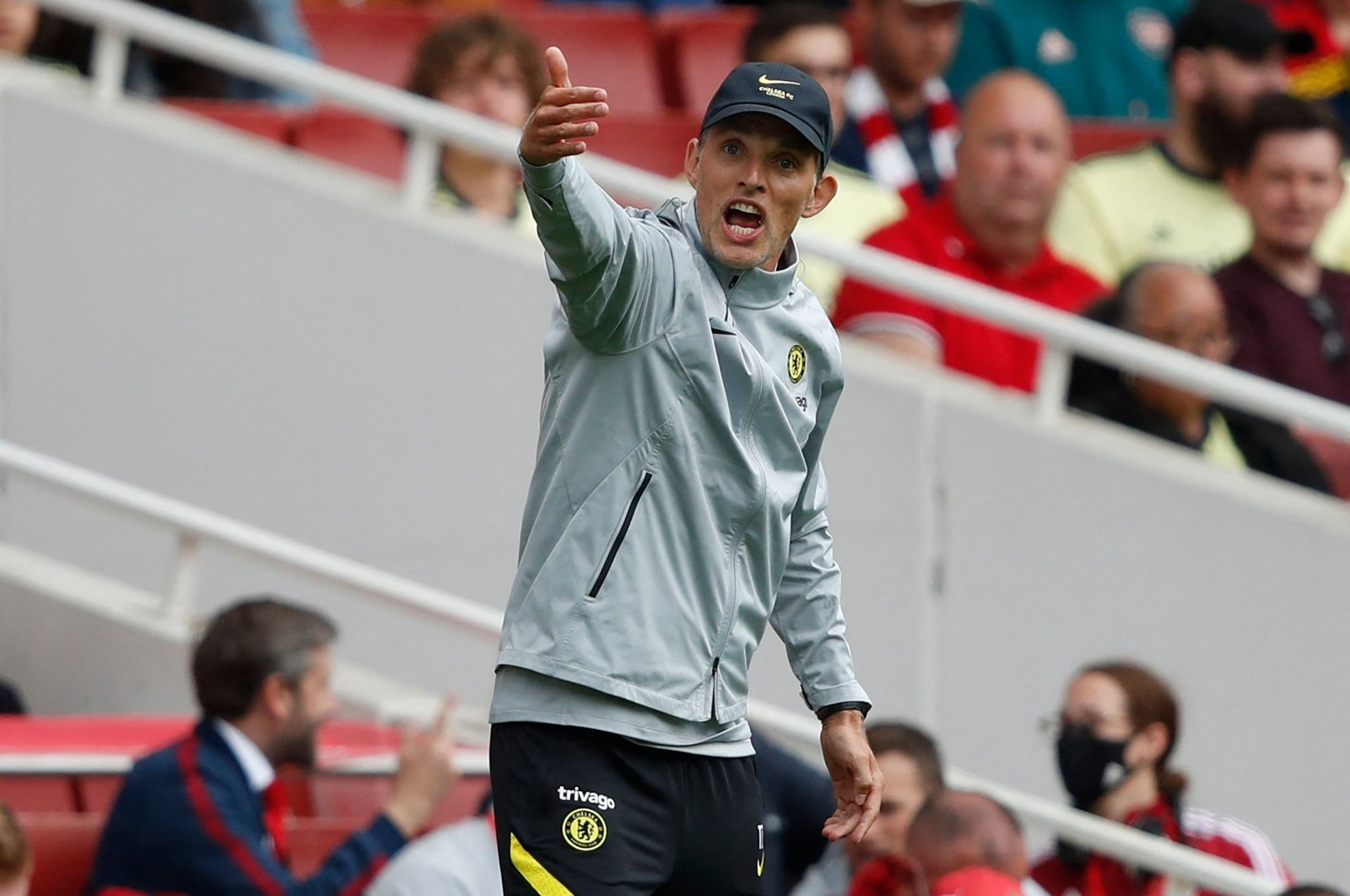 Chelsea's German head coach Thomas Tuchel gestures on the touchline during the pre-season friendly football match between Arsenal and Chelsea at The Emirates Stadium, London, England, Aug. 1, 2021. (AFP Photo)