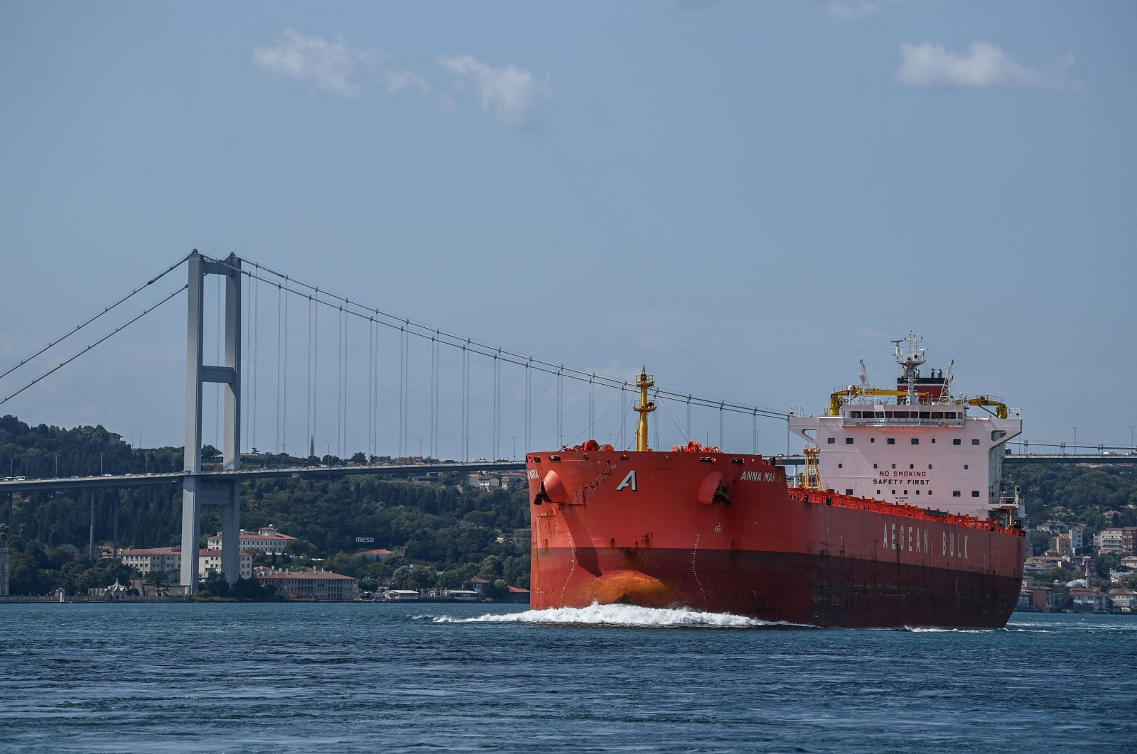 A commercial vessel sails under the July 15 Martyrs Bridge on the Bosporus strait, Istanbul, Turkey on July 23, 2021. (AFP Photo)