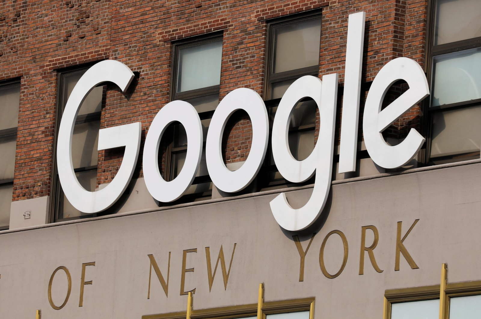 A logo is seen on the Google offices in Manhattan, New York City, NY, U.S., July 29, 2021. (Reuters Photo)