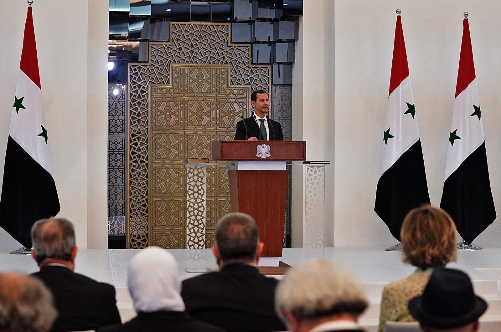 A handout picture released by the official Facebook page of the Syrian Presidency shows Bashar Assad delivering a speech at the swearing-in ceremony for his fourth term, in the capital Damascus, Syria, July 17, 2021. (AFP Photo)