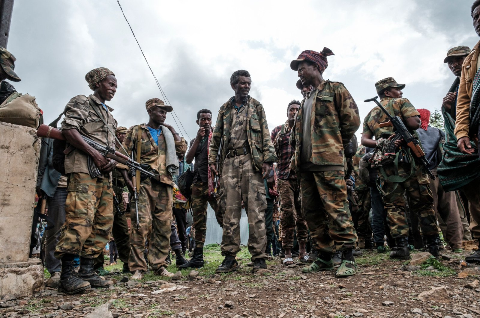 Members of the Amhara militia gather in the village of Adi Arkay, 180 kilometers northeast from the city of Gondar, Ethiopia, on July 14, 2021. (AFP Photo)