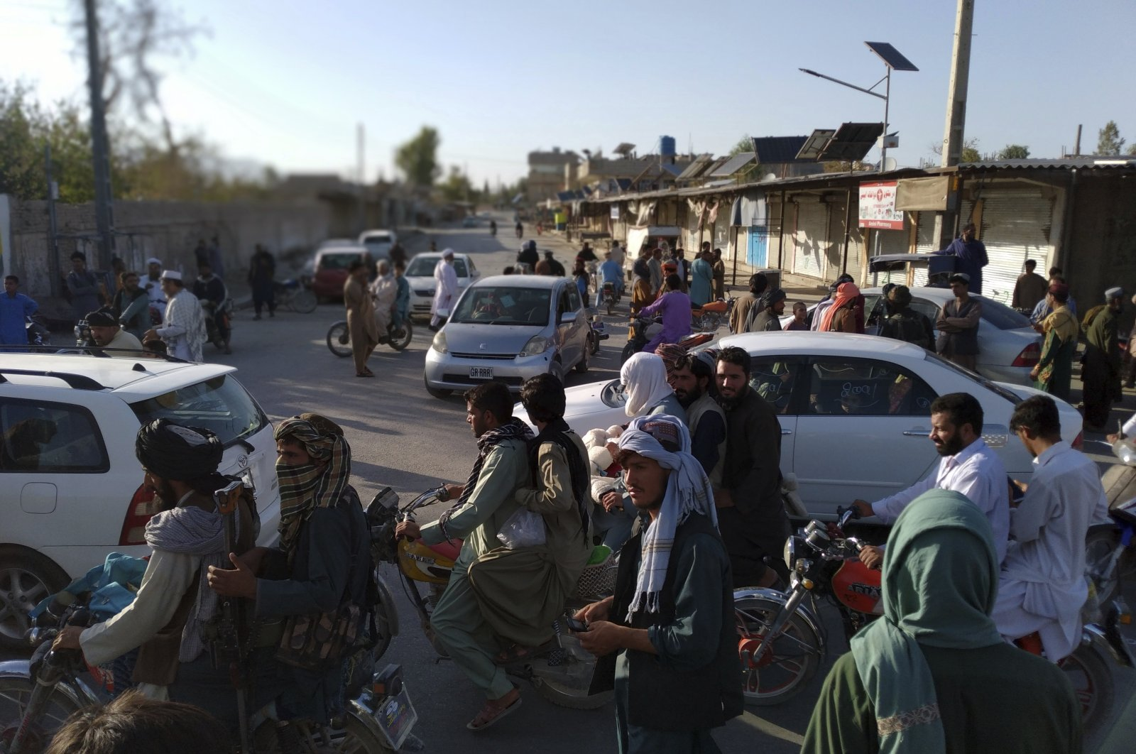 Taliban fighters are seen inside the city of Farah, capital of  Farah province southwest of Kabul, Afghanistan, Aug. 10, 2021. (AP Photo)