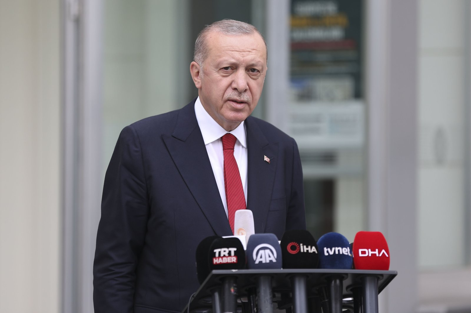President Recep Tayyip Erdoğan speaks to journalists in Istanbul, Turkey, Aug. 6, 2021 (AA Photo)