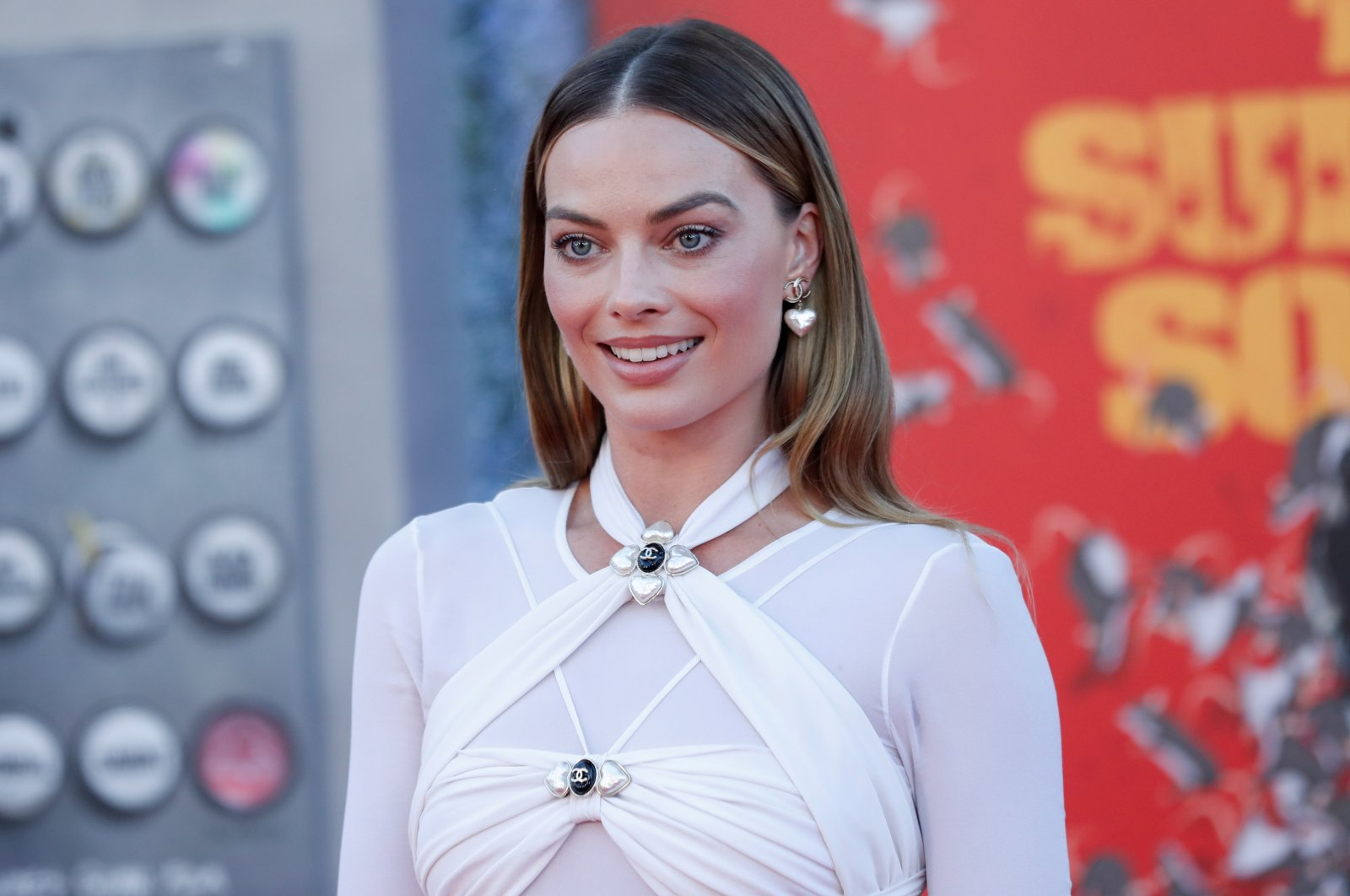 """Cast member Margot Robbie poses at the premiere for the film """"The Suicide Squad"""" in Los Angeles, California, U.S., August 2, 2021.  (Reuters Photo)"""