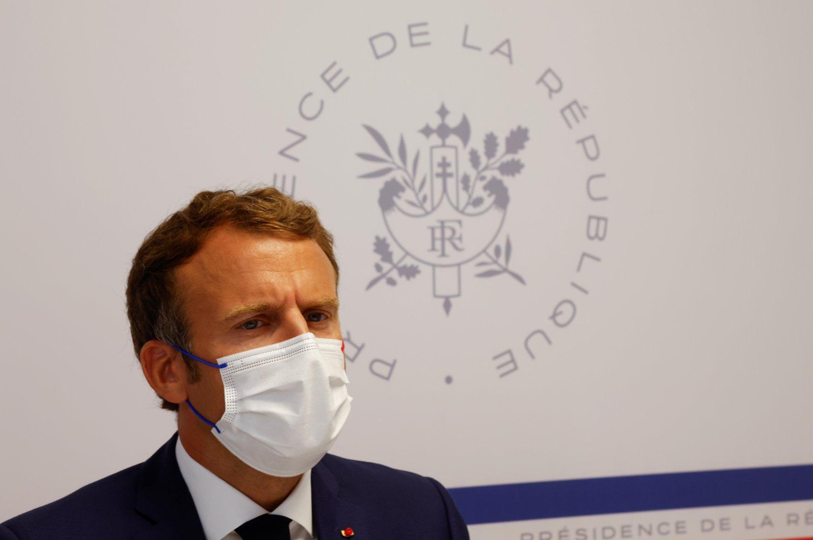 French President Emmanuel Macron attends a Defense Council meeting at Fort de Bregancon in Bormes-les-Mimosas, France, Aug. 11, 2021. (EPA Photo)