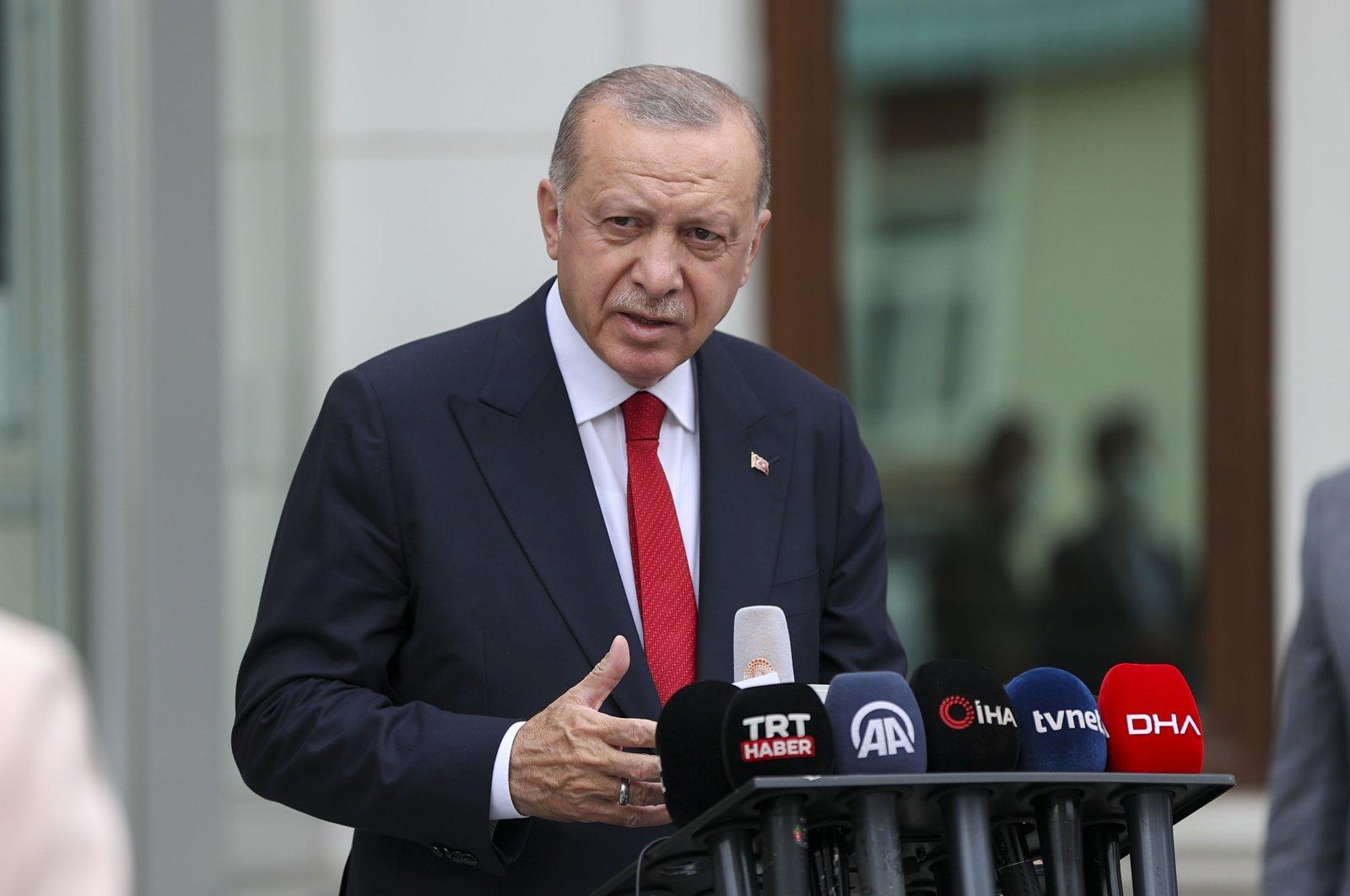 President Recep Tayyip Erdoğan speaks to the press after attending a prayer at Çilehane Mosque in Istanbul's Üsküdar, Turkey, Aug. 11, 2021 (AA Photo)