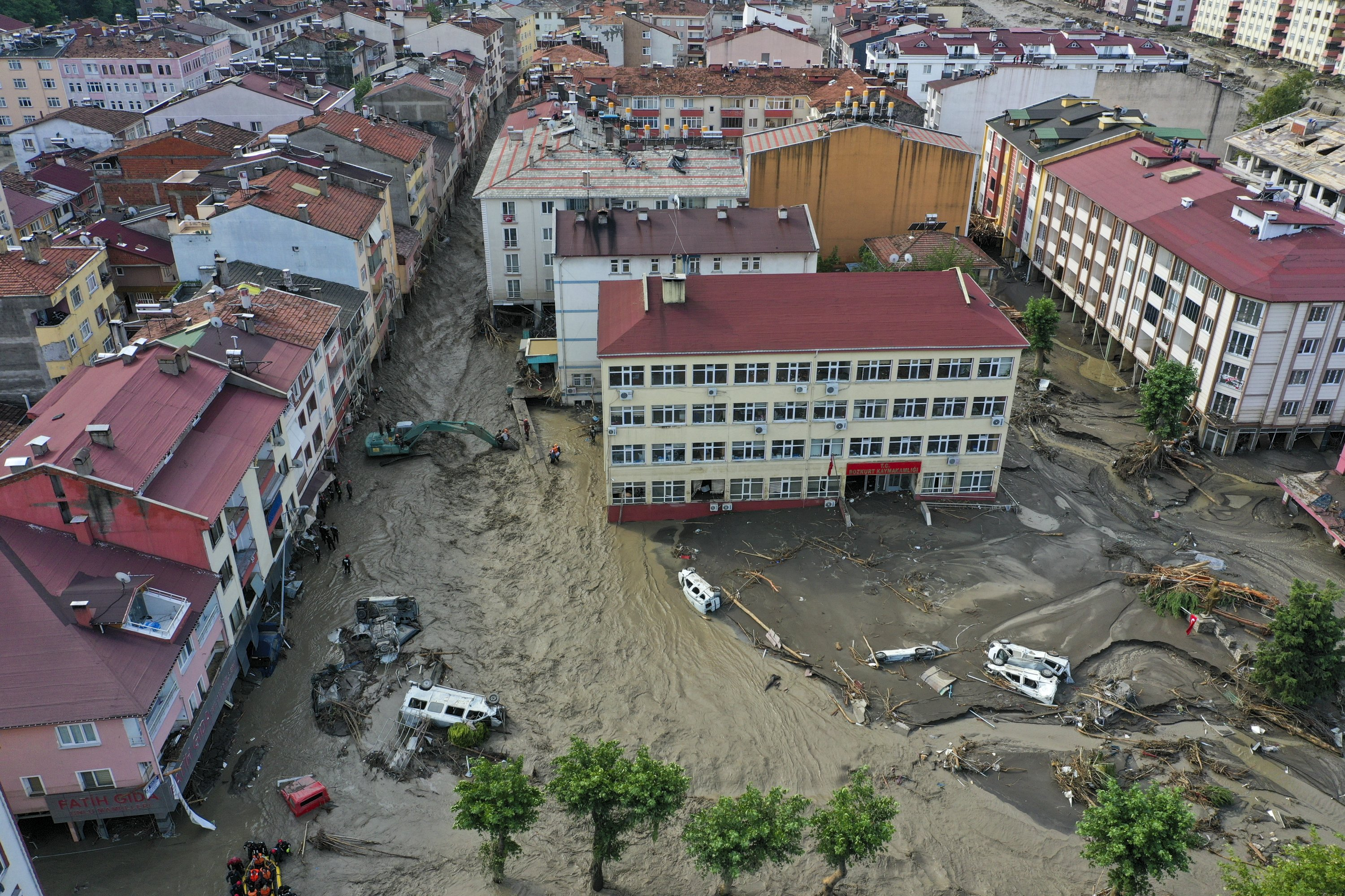 An aerial view of flooded streets strewn with debris and cars swept away by floods in the Bozkurt district of Kastamonu province, northern Turkey, Aug. 12, 2021. (AA PHOTO)