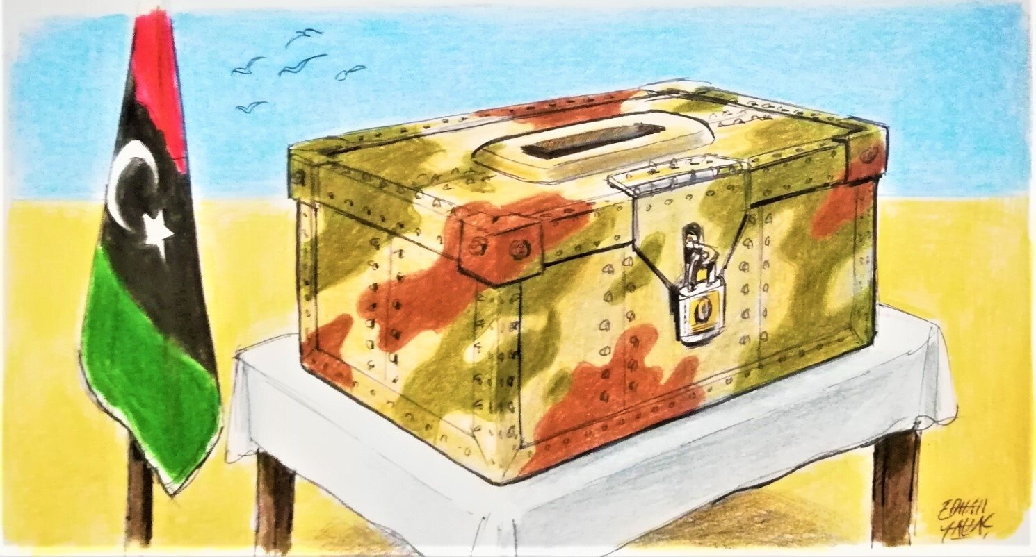 Illustration of a Libyan flag and ballot box symbolizing the country's December 2021 elections by Erhan Yalvaç.