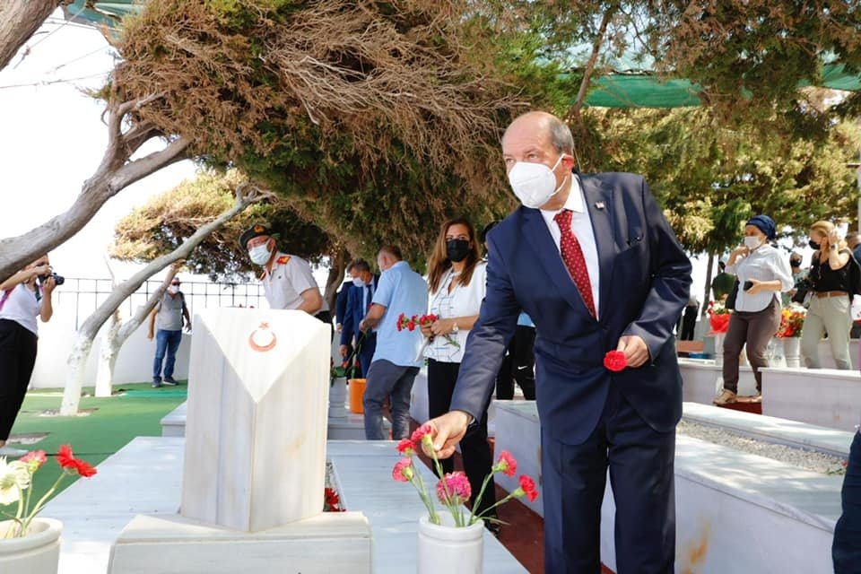 Turkish Republic of Nothern Cyprus (TRNC) President Ersin Tatar participates in a ceremony to commemorate those who lost their lives during clashes with Greek Cypriots in Erenköy (Kokkina), Lefke, TRNC, Aug. 8, 2021. (AA Photo)