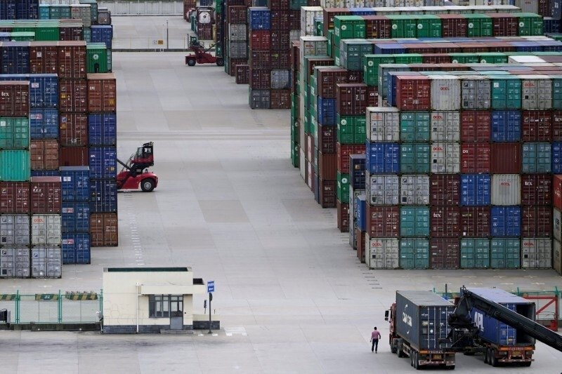 Containers seen at the Yangshan port in Shanghai, China, Oct. 19, 2020. (Reuters Photo)