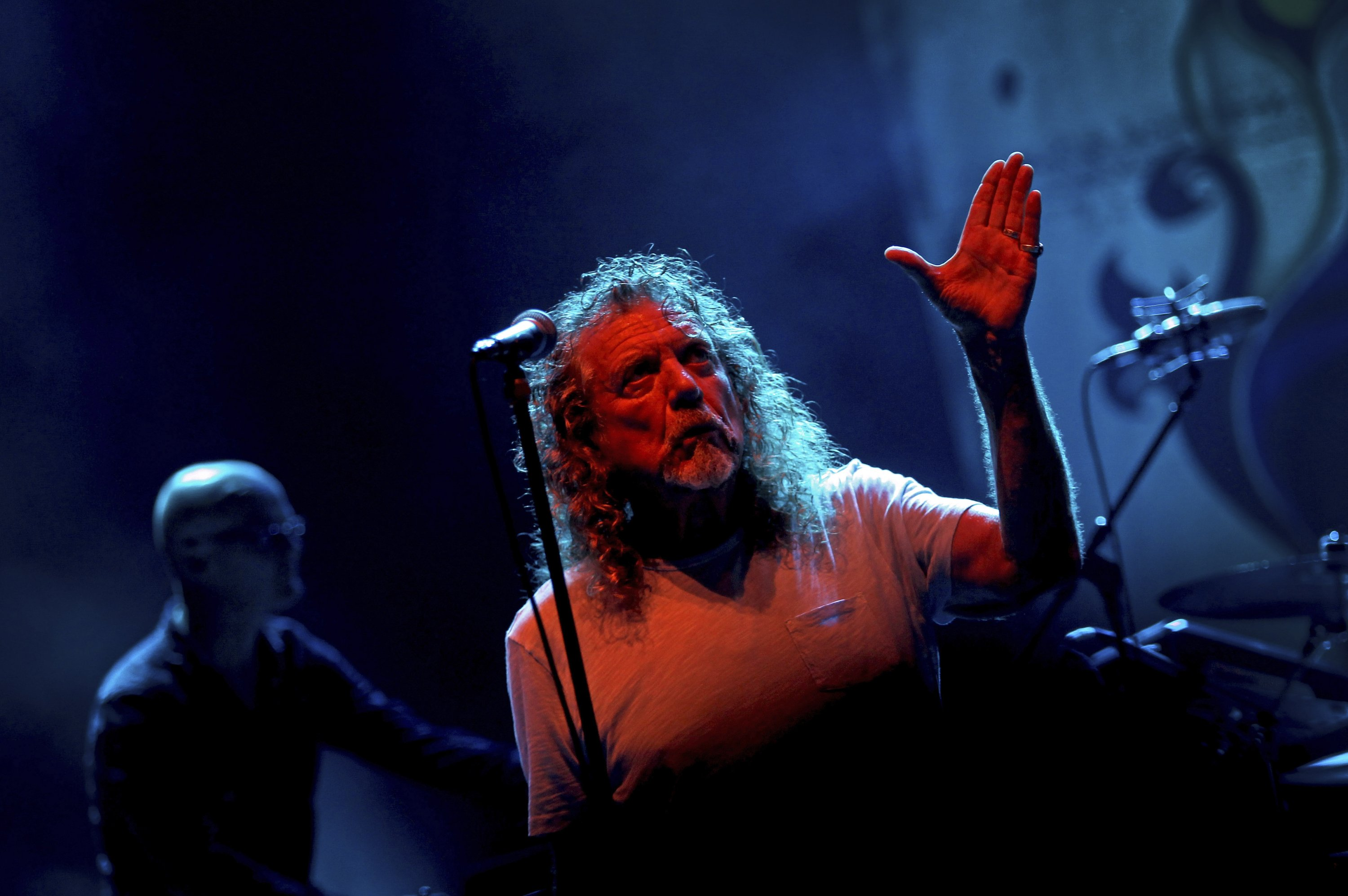 Robert Plant performs during the Timbre Rock and Roots concert in Singapore, March 21, 2013. (AP Photo)