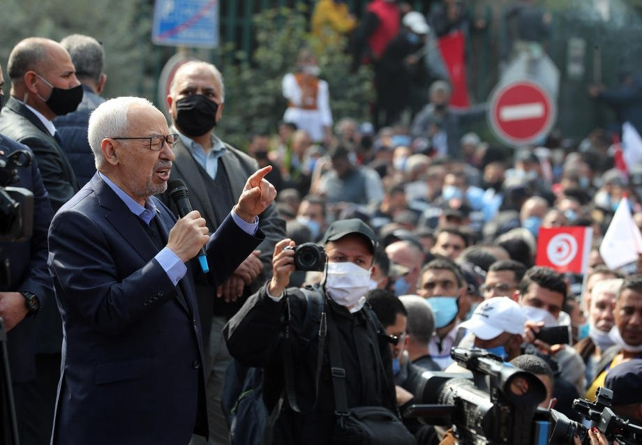 The leader of Tunisia's largest political party Ennahdha Rached Ghannouchi speaks during a rally in opposition to President Kais Saied in Tunis, Tunisia, Feb. 27, 2021. (EPA-EFE Photo)