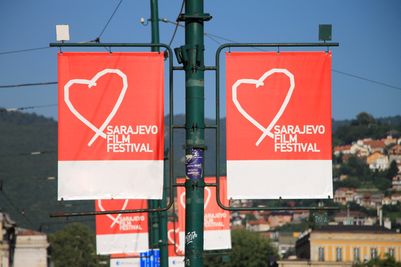 The Heart of Sarajevo symbol of the Sarajevo Film Festival adorns banners in Bosnia-Herzegovina, Aug. 14, 2016. (Shutterstock Photo)