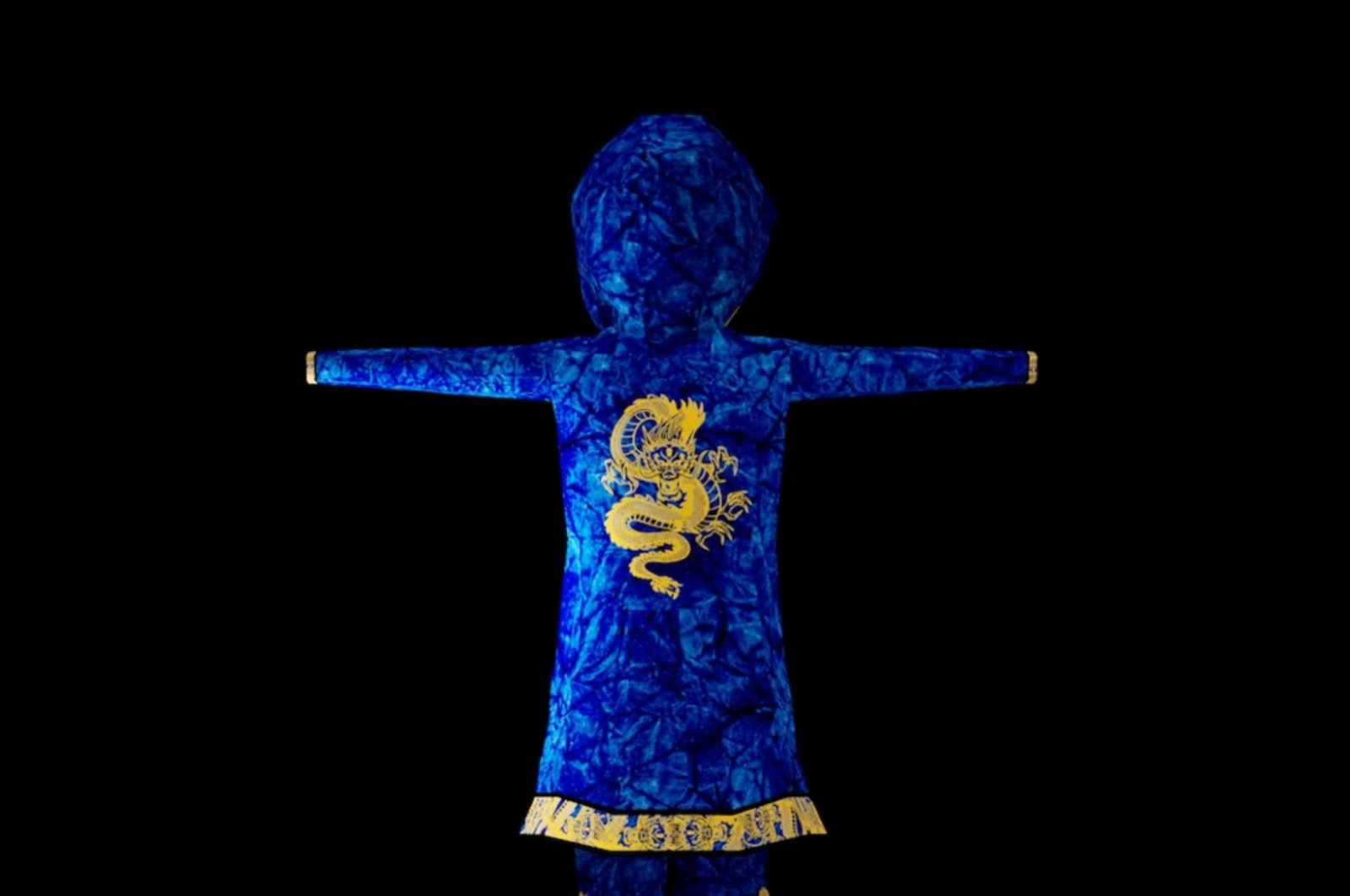 """An undated handout image of virtual clothing piece """"The Blue Dragon Warrior"""" kimono, a wearable item in the digital world of """"Decentraland,"""" which according to its creator Hiroto Kai it's his """"first mythic wearable creation, one out of 10 ever created."""" (Hiroto Kai/Handout via Reuters)"""