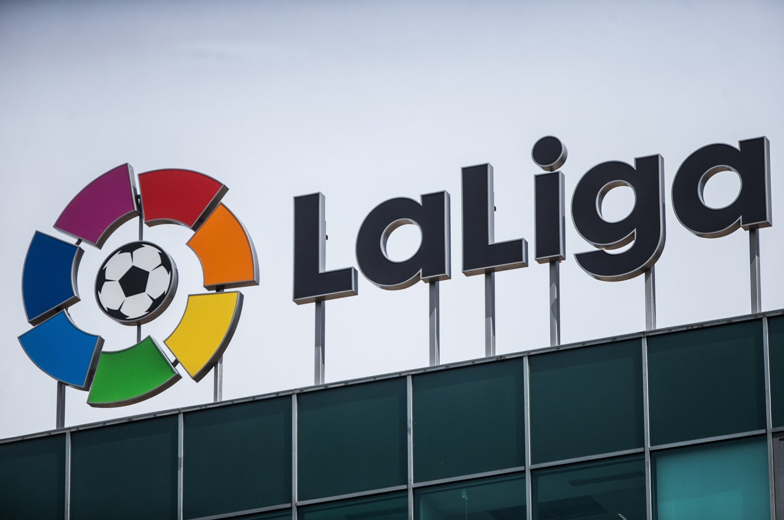 The Logo of La Liga, the body that runs Spain's top-tier football competition, on top of its headquarters Madrid, Spain, May 5, 2020. (Getty Images Photos)