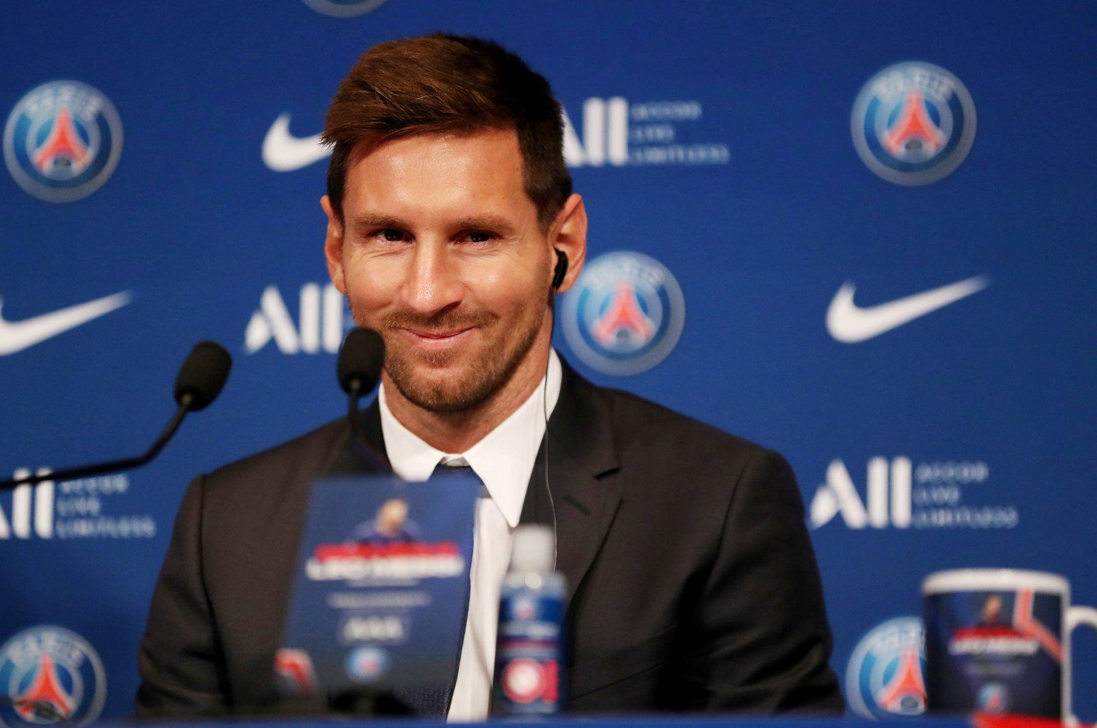 Paris Saint-Germain's Lionel Messi during a press conference after signing for the club, Parc des Princes, Paris, France, Aug. 11, 2021.