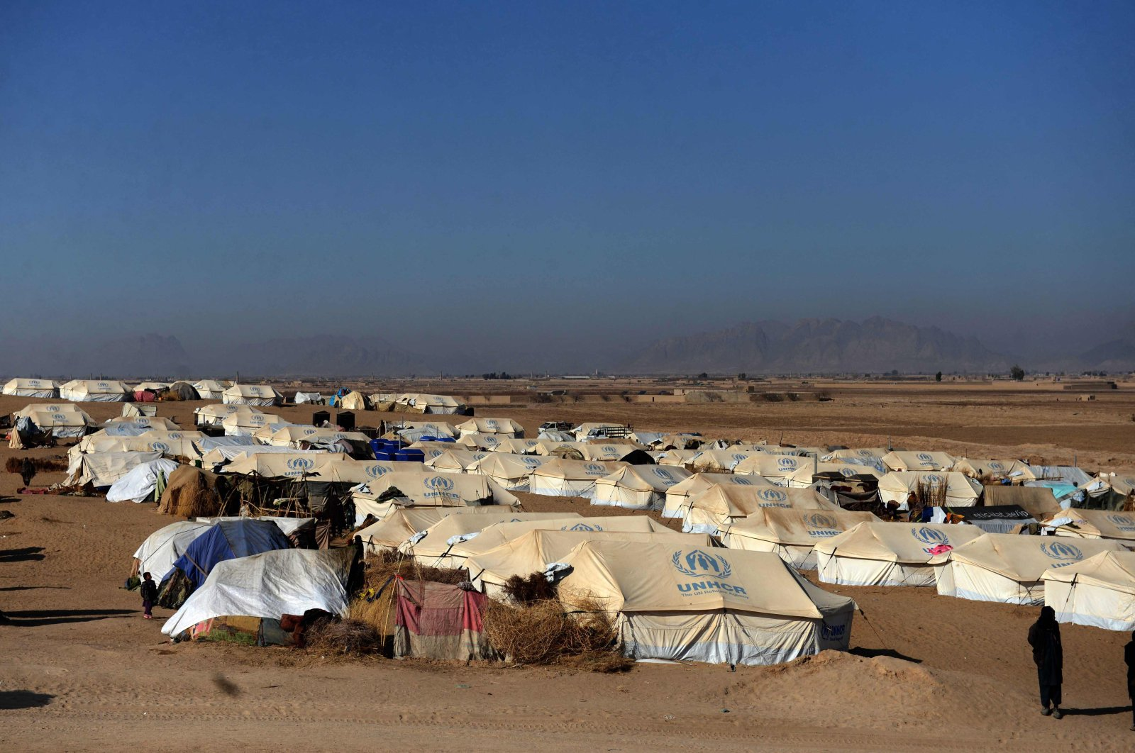 Tents at a camp for internally displaced families in the Dand district of Kandahar province on January 7, 2021. (AFP Photo)