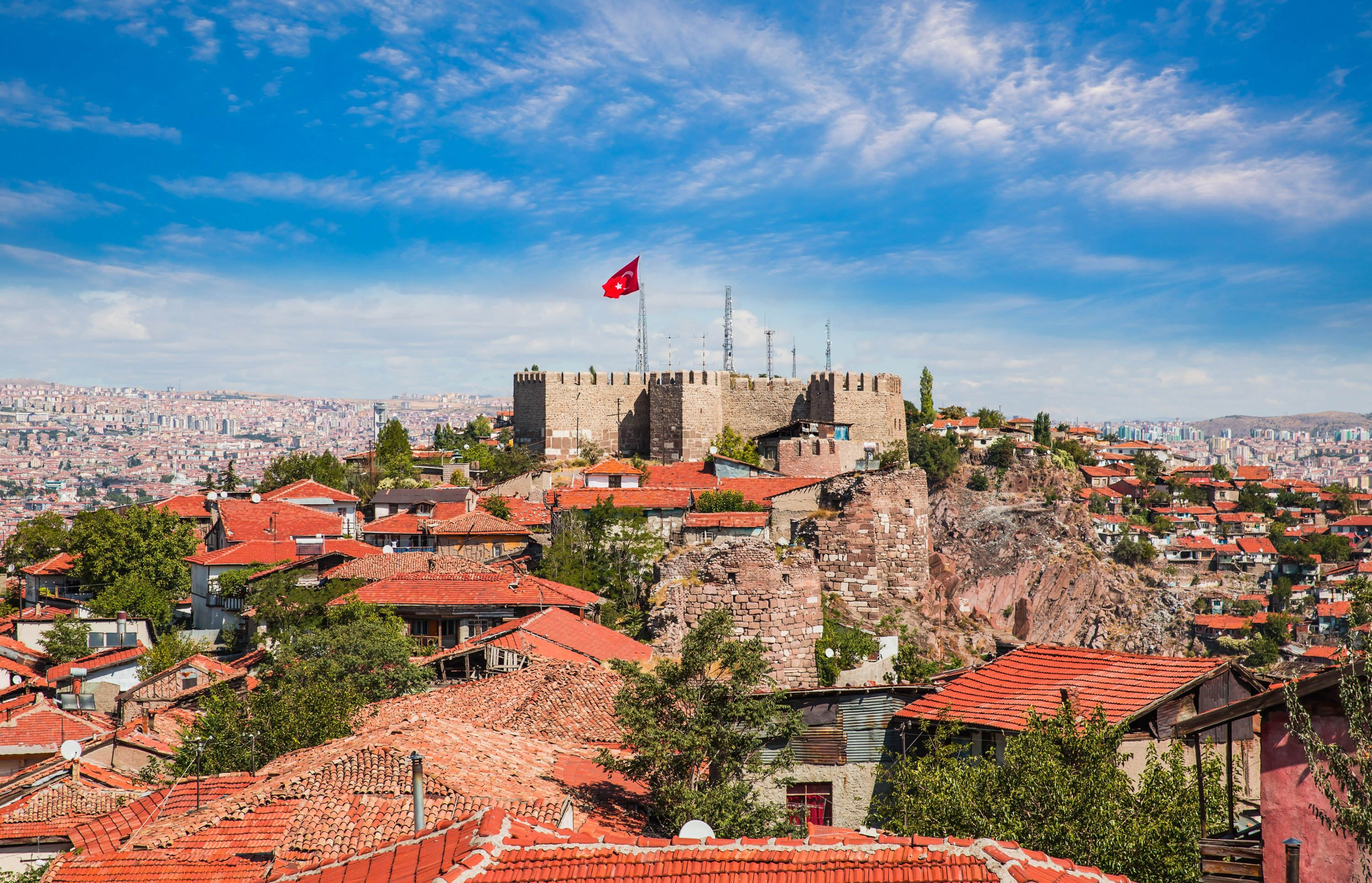 View of Ankara Castle and the interior of the castle. (Shutterstock Photo)